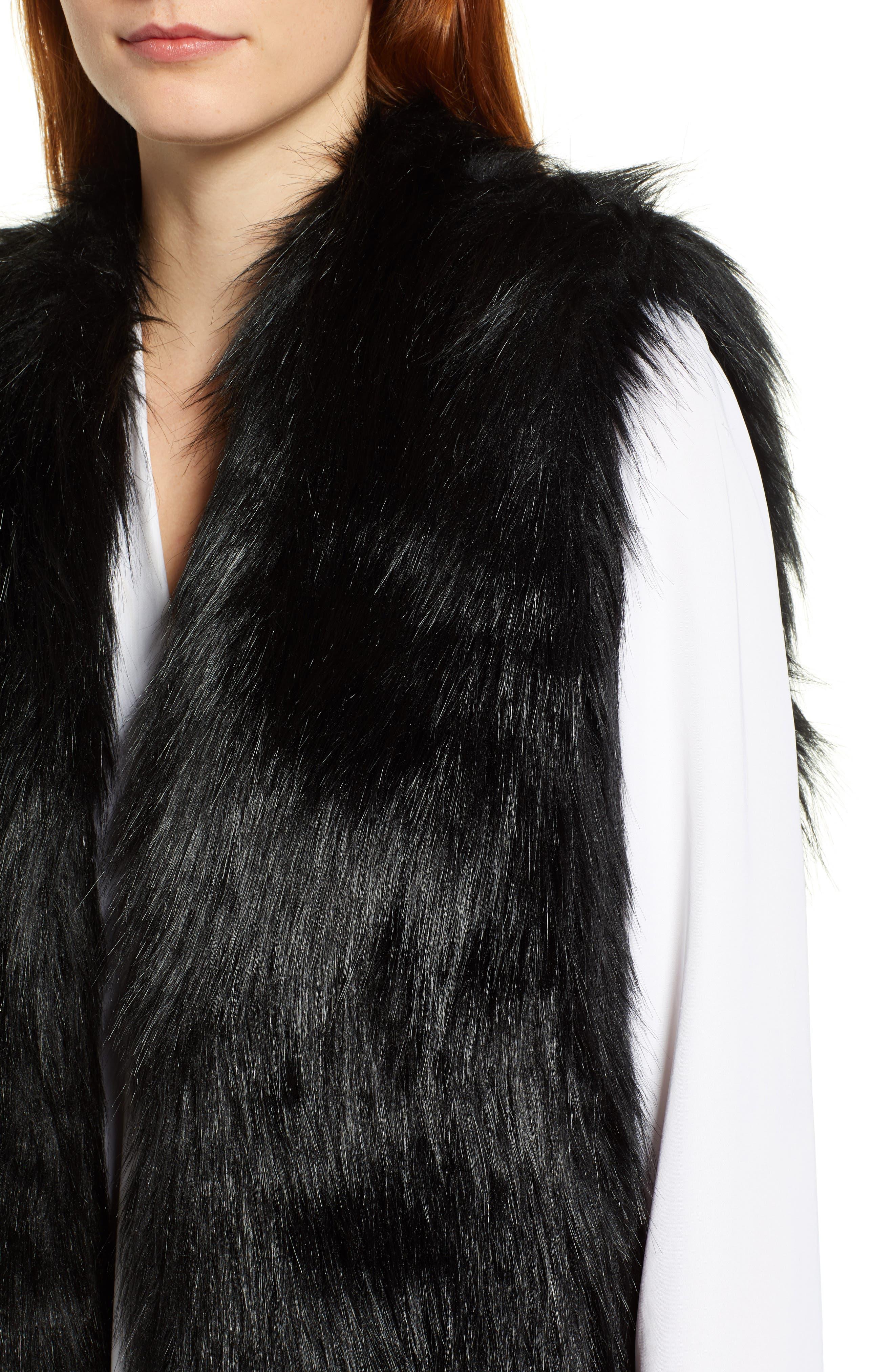 CHAUS,                             Faux Fur Vest,                             Alternate thumbnail 5, color,                             011