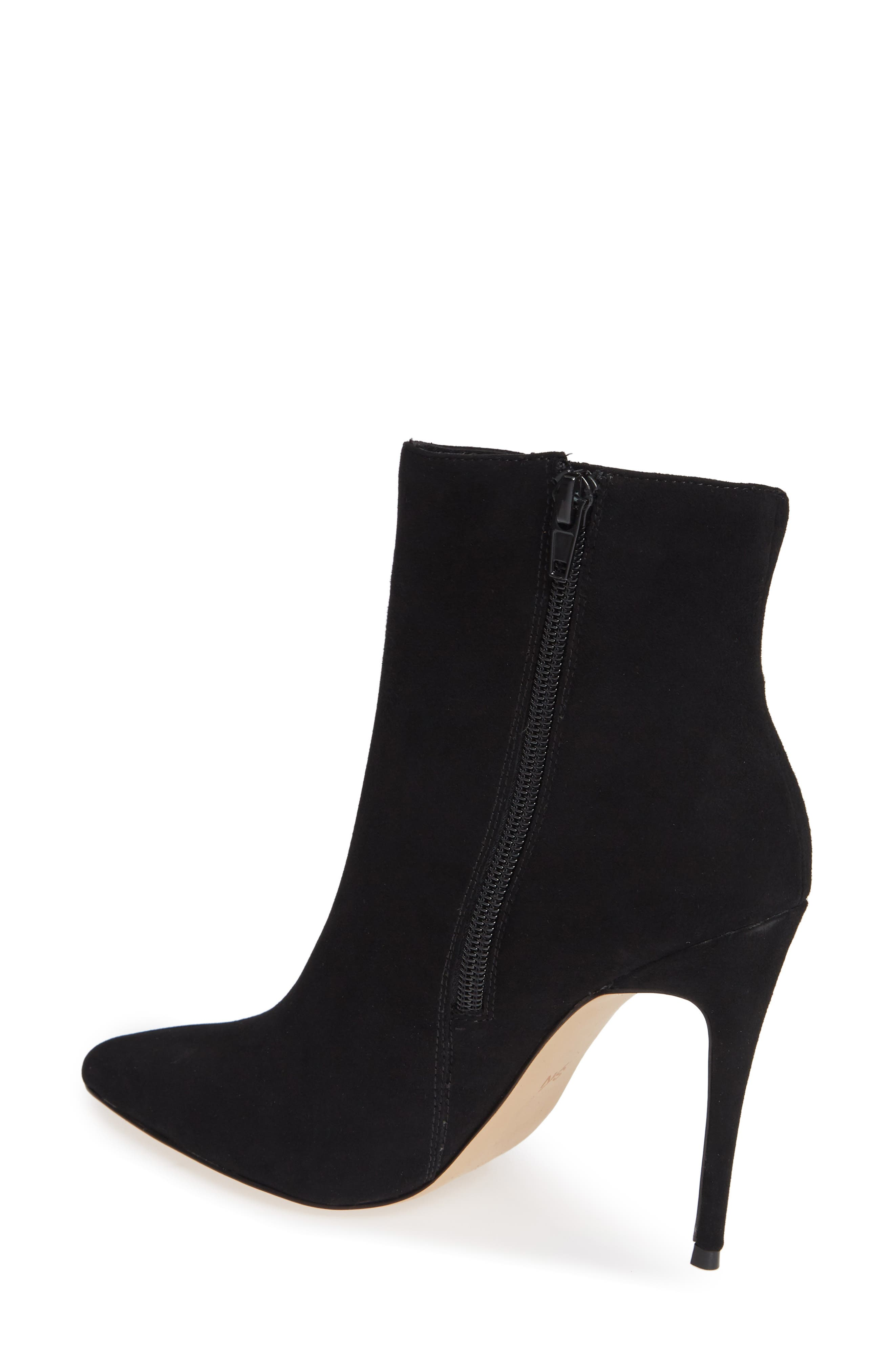 Arianna Ruched Bootie,                             Alternate thumbnail 2, color,                             BLACK SUEDE