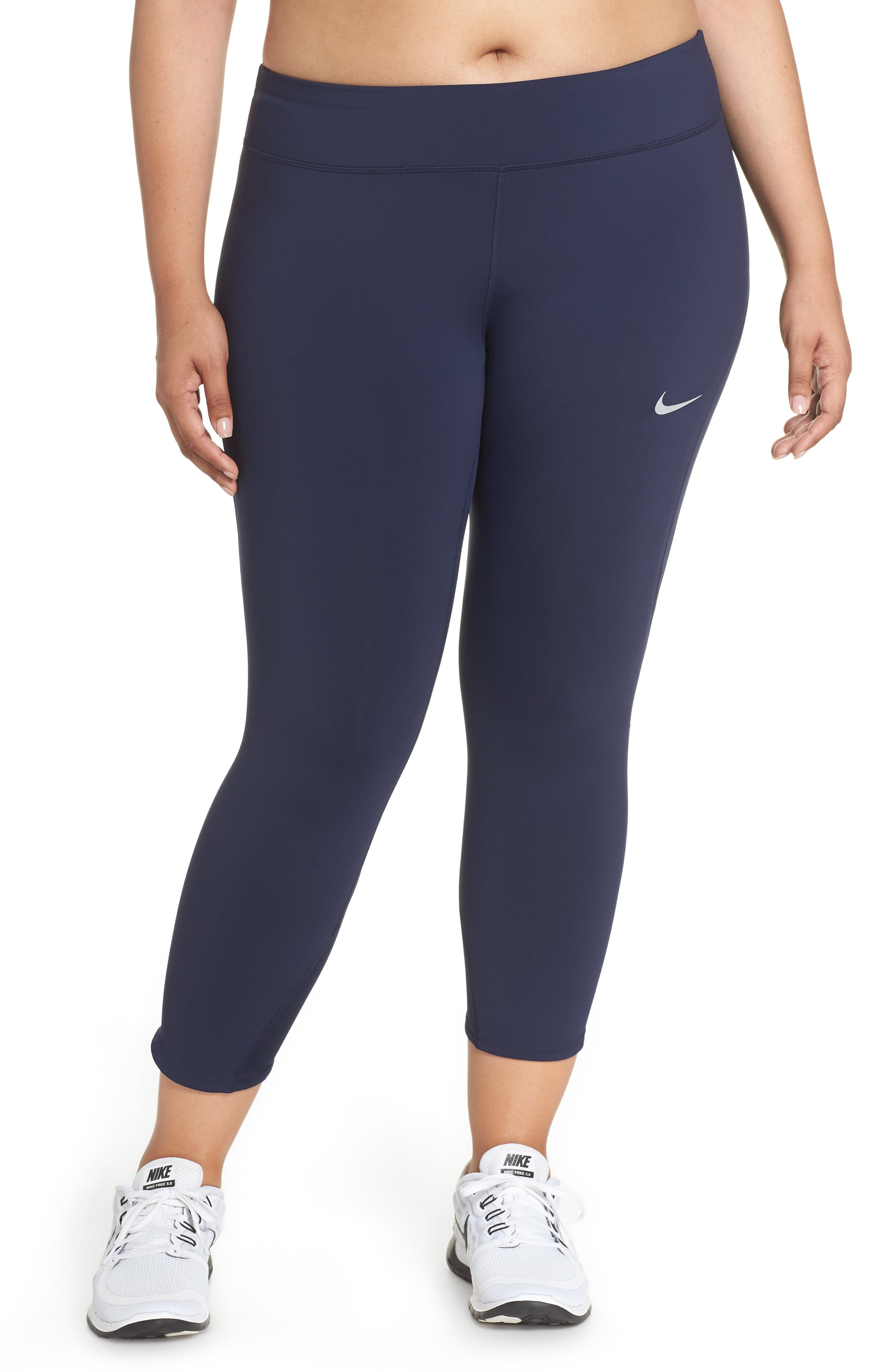 Power Epic Lux Crop Running Tights,                         Main,                         color, OBSIDIAN