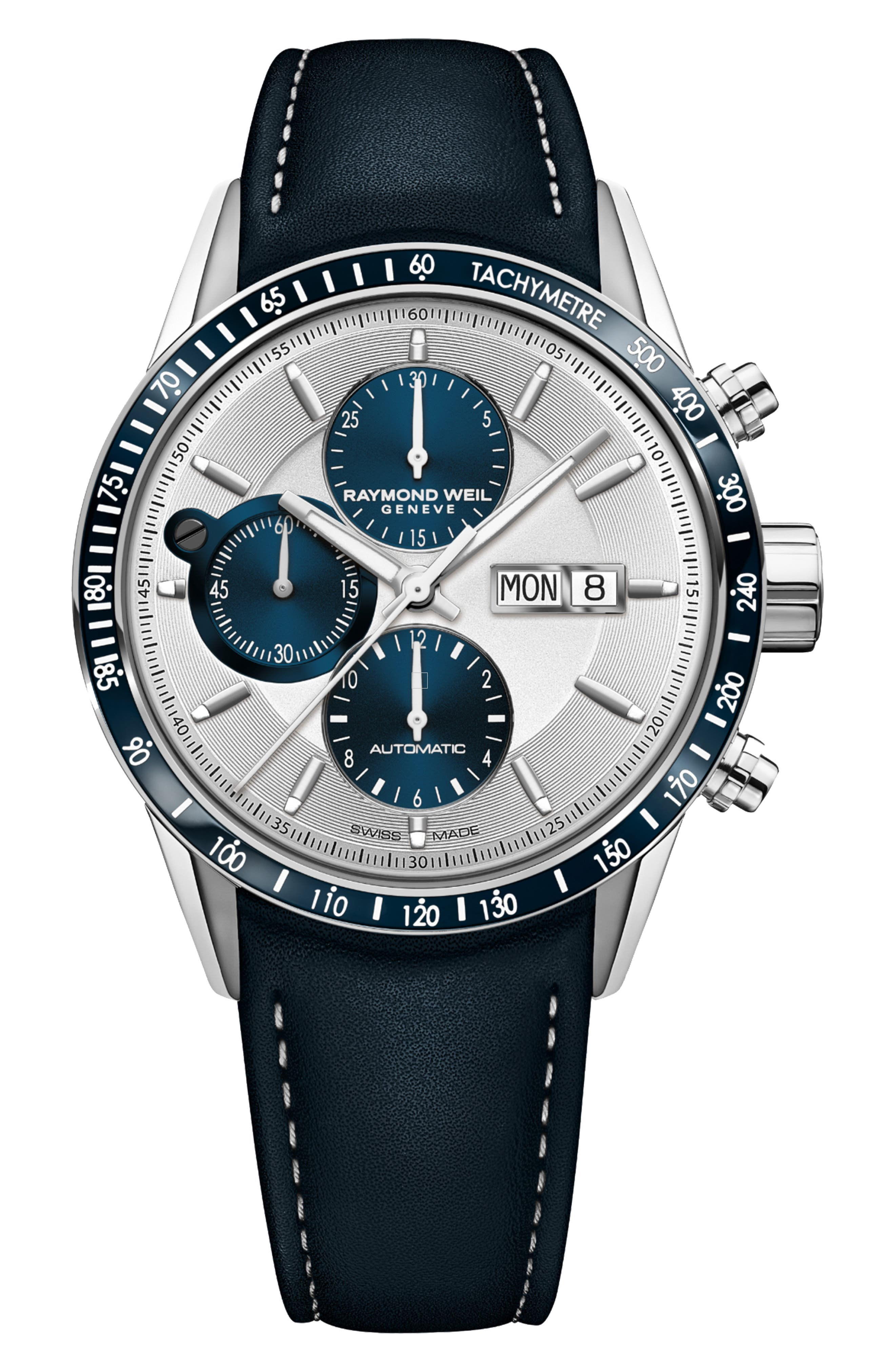Freelancer Chronograph Automatic Leather Strap Watch, 42mm,                         Main,                         color, BLUE/ SILVER