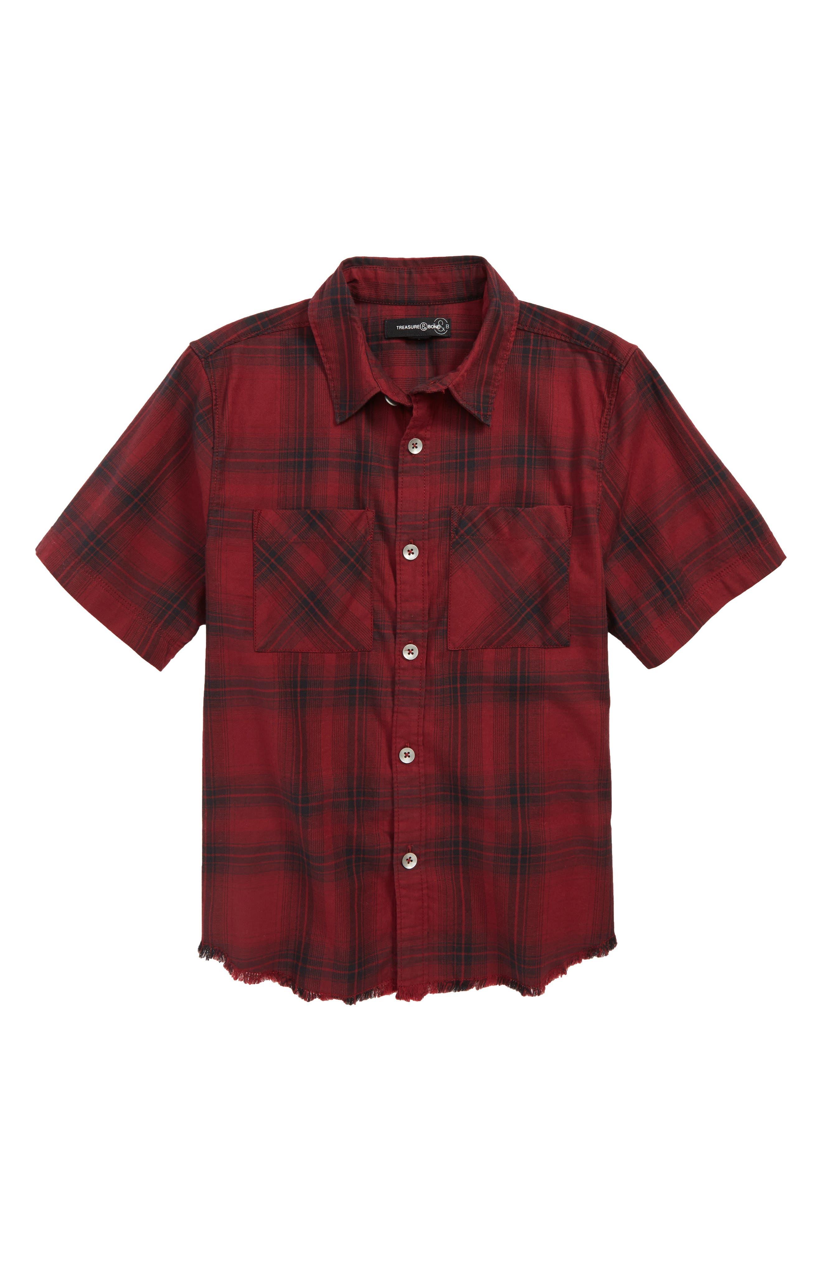 Distressed Plaid Flannel Shirt,                         Main,                         color, RED GRAPE- BLACK PLAID