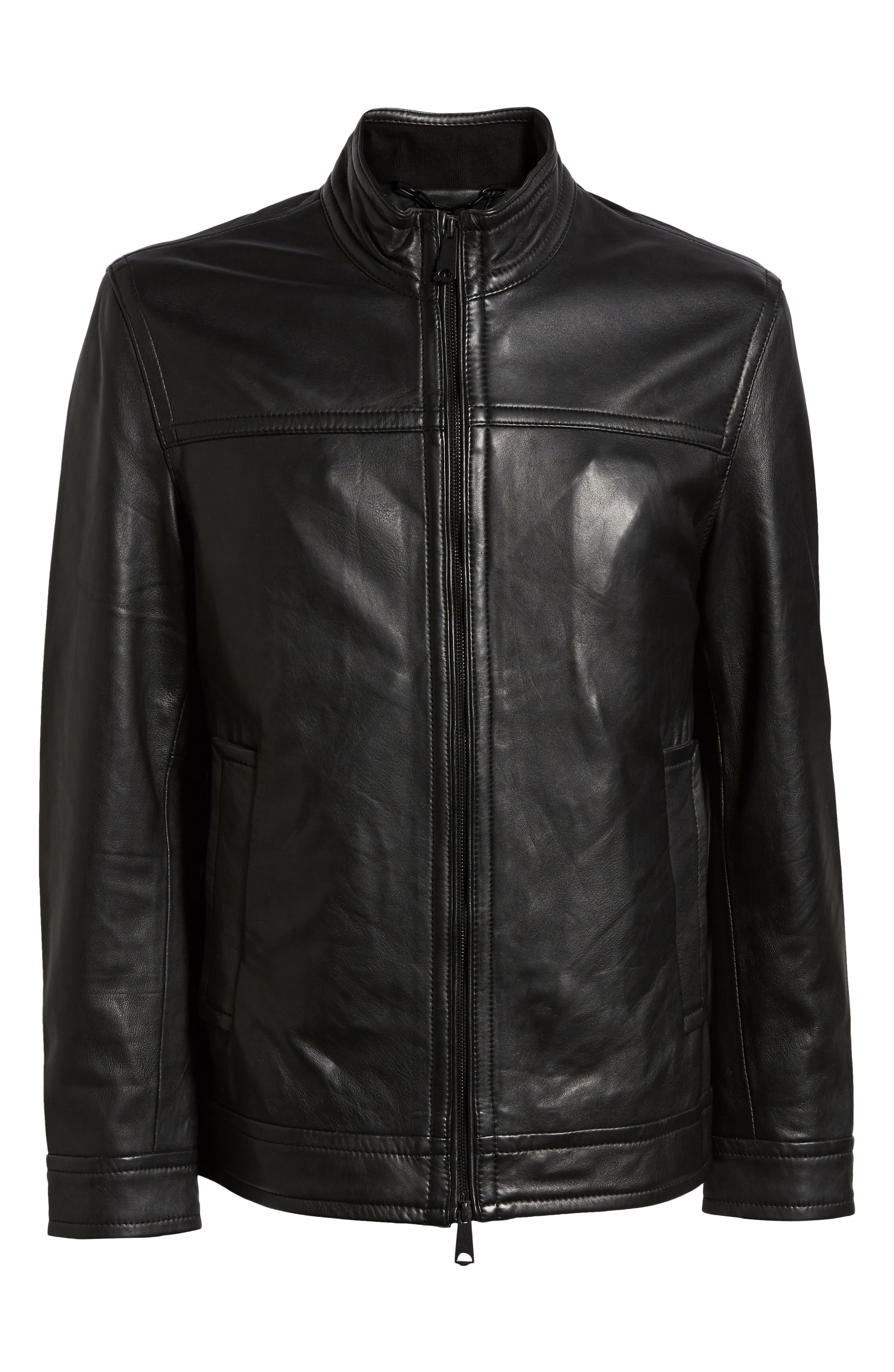 Napoleon Classic Leather Coat,                             Alternate thumbnail 5, color,                             BLACK