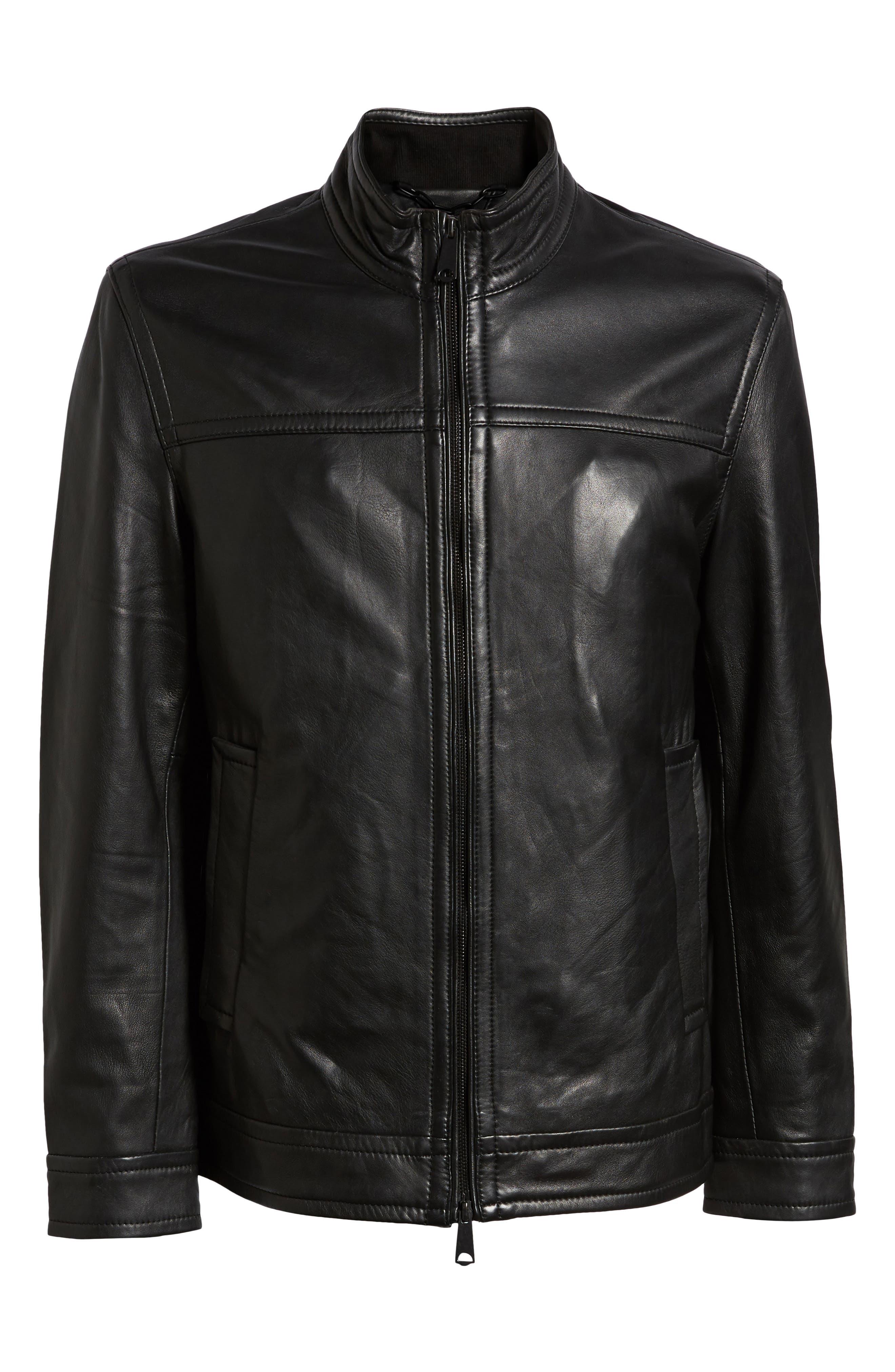 Napoleon Classic Leather Coat,                             Alternate thumbnail 6, color,                             BLACK