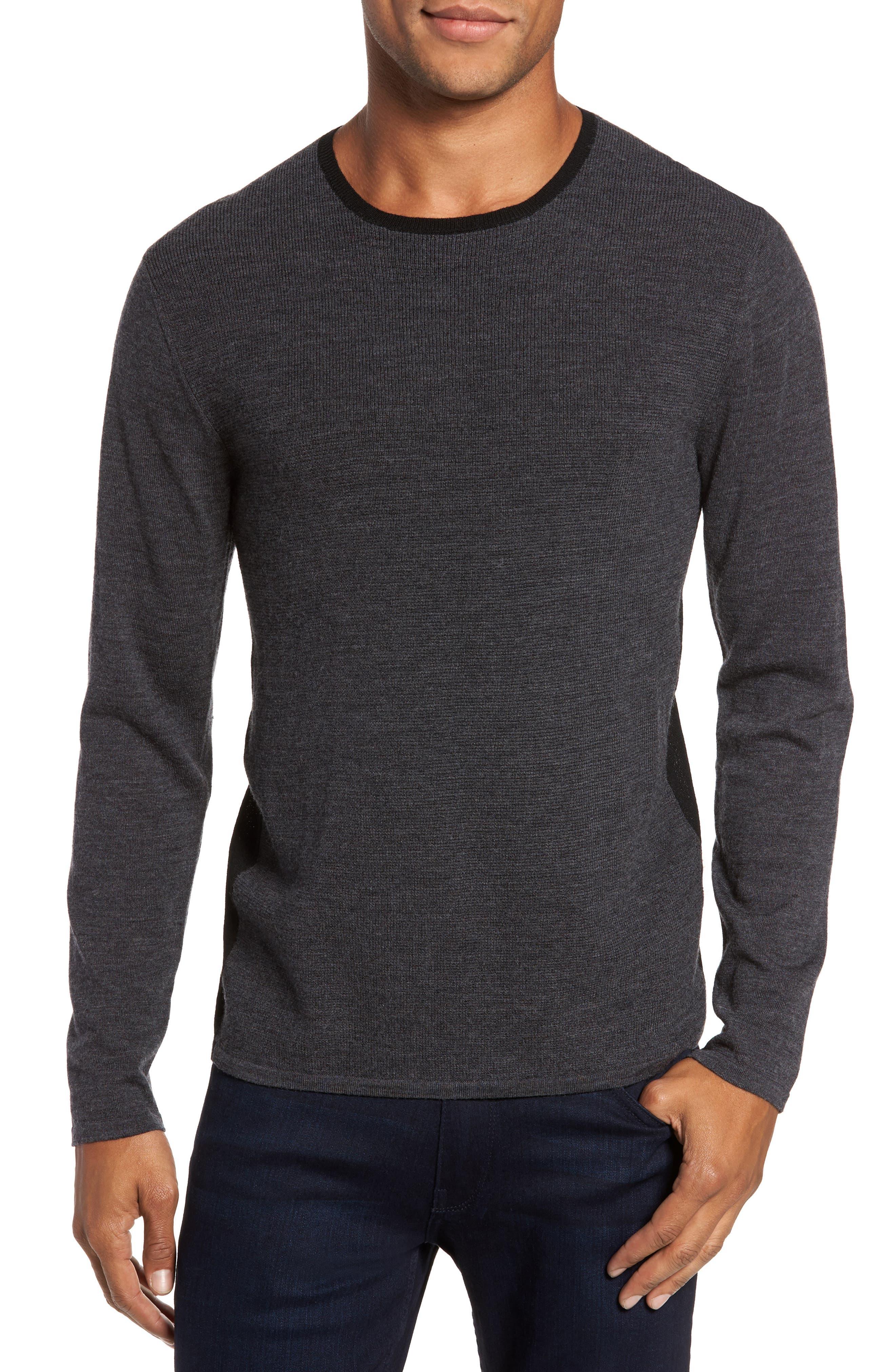ZACHARY PRELL Huxley Merino Sweater in Dark Grey