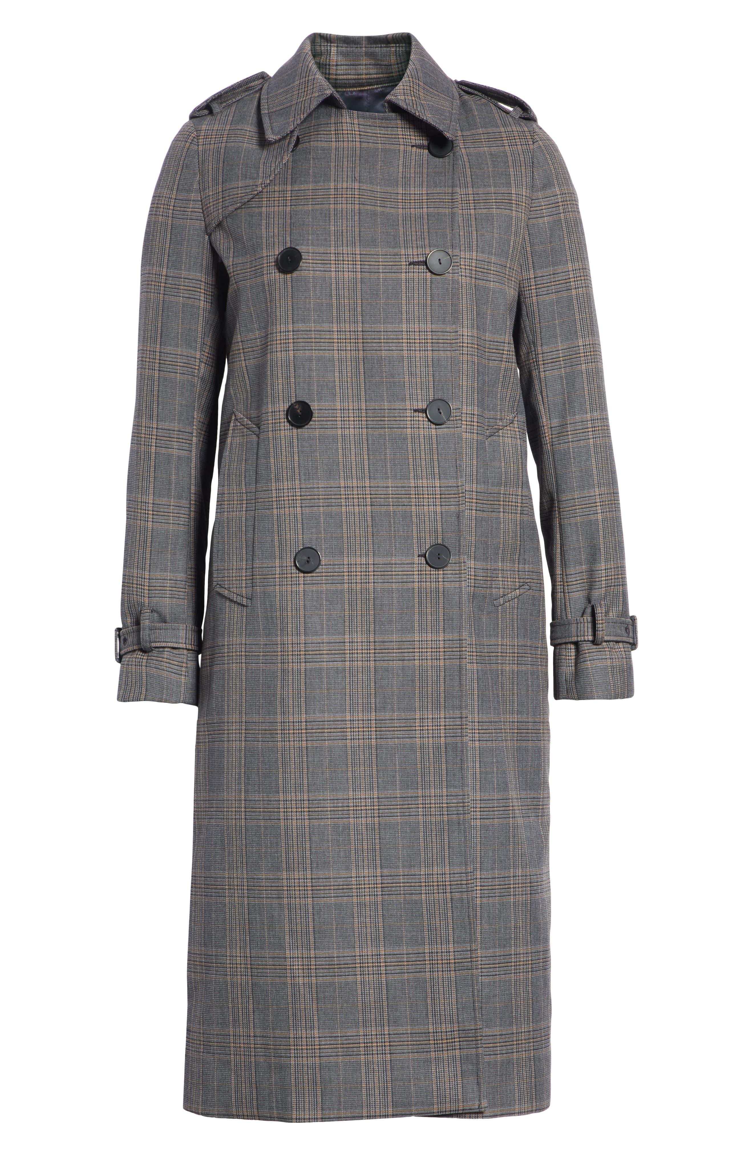 Long Plaid Coat,                             Alternate thumbnail 5, color,                             033