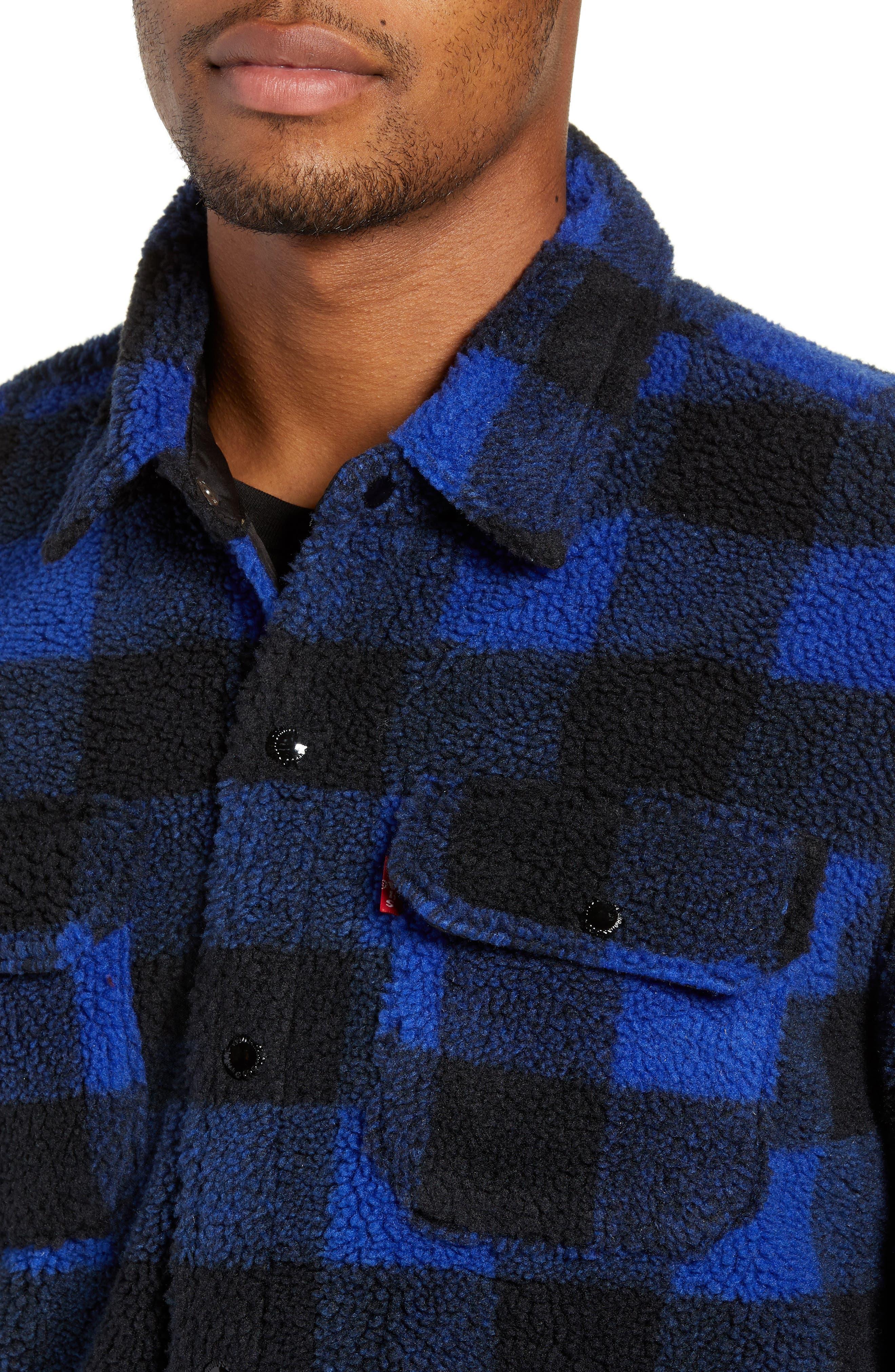 Plaid Faux Shearling Shirt,                             Alternate thumbnail 4, color,                             BLUE