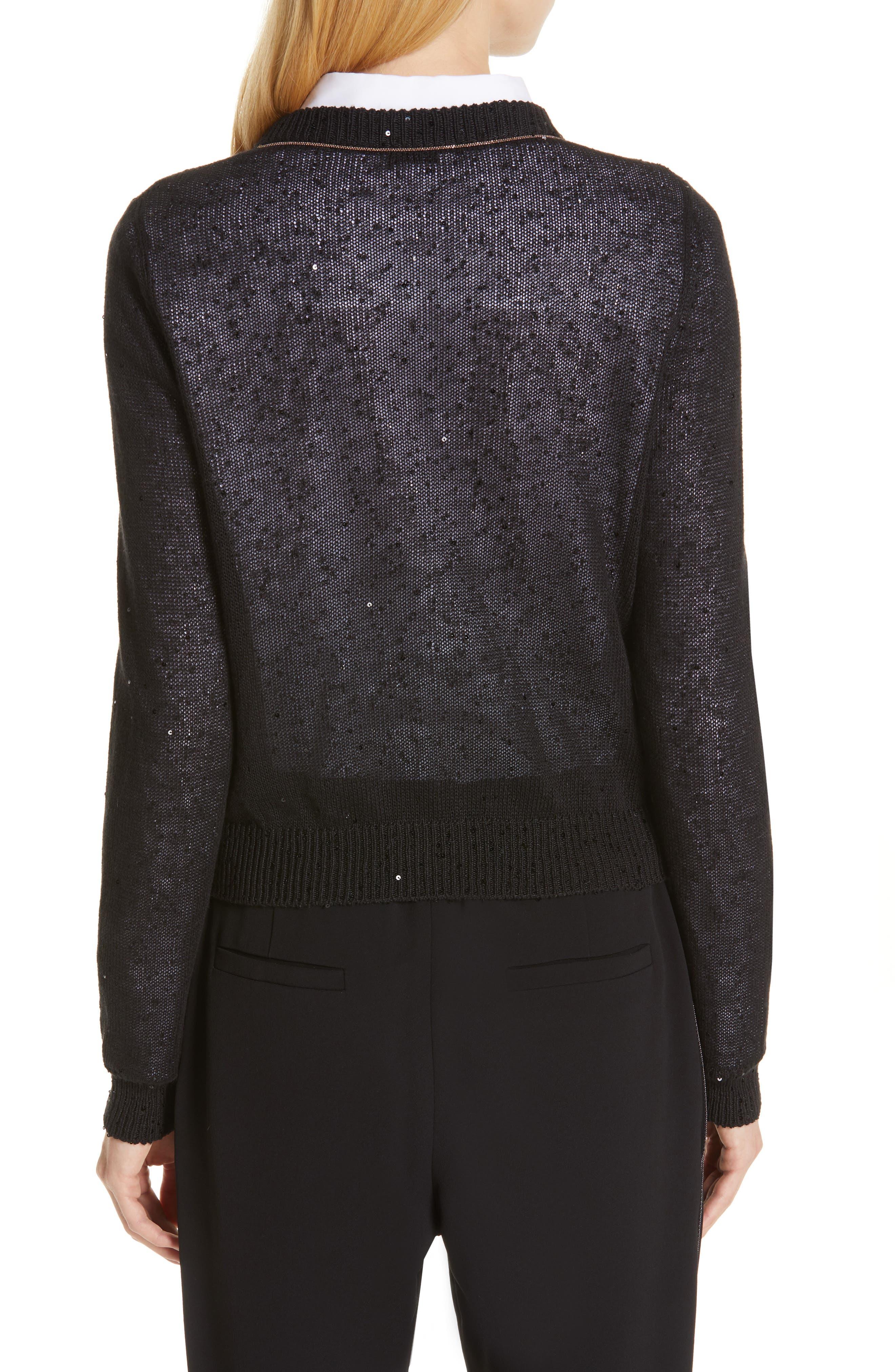 Sequin Linen & Silk Crop Cardigan,                             Alternate thumbnail 2, color,                             BLACK