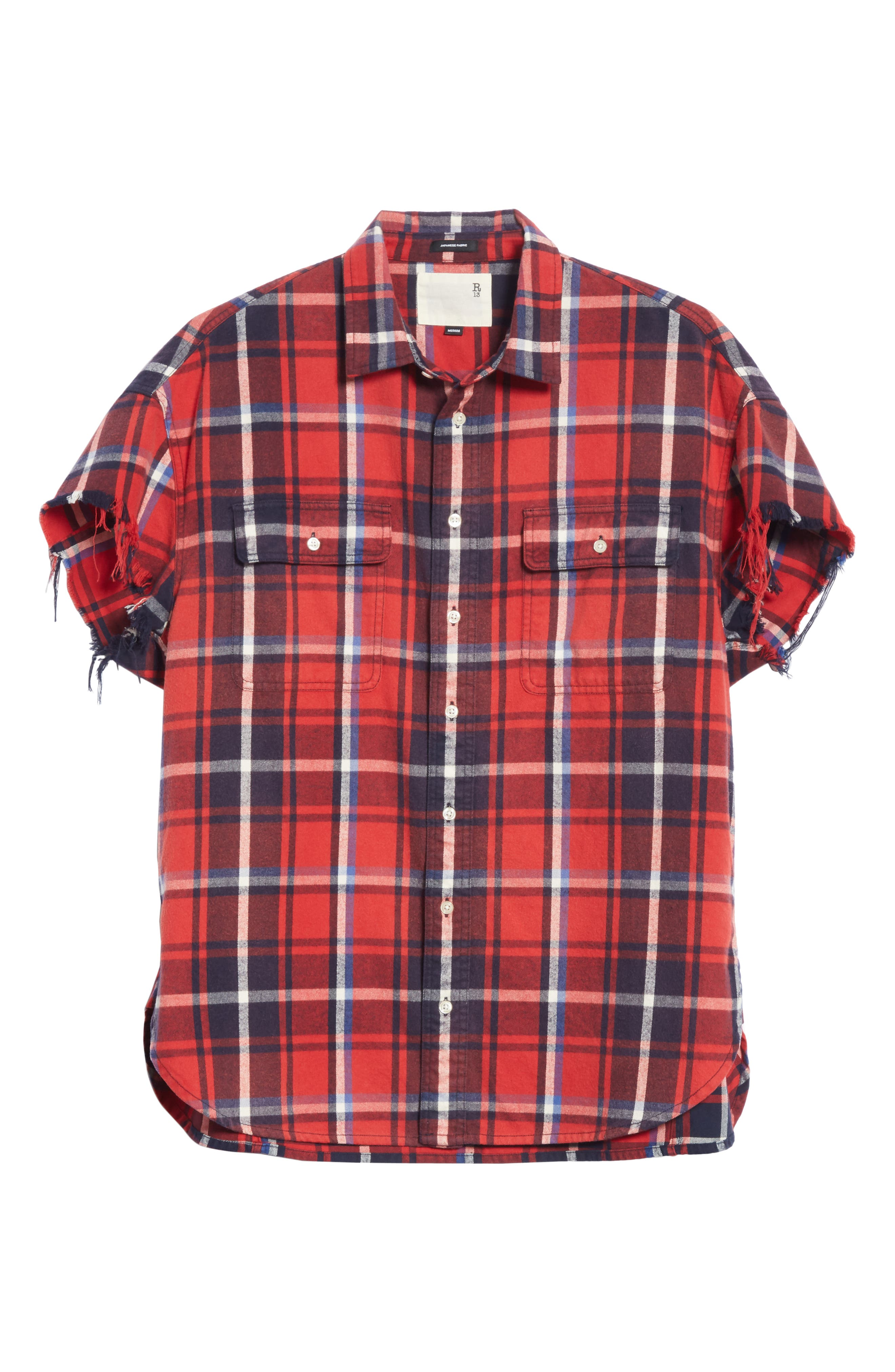 Oversize Cut Off Flannel Shirt,                             Alternate thumbnail 6, color,                             RED