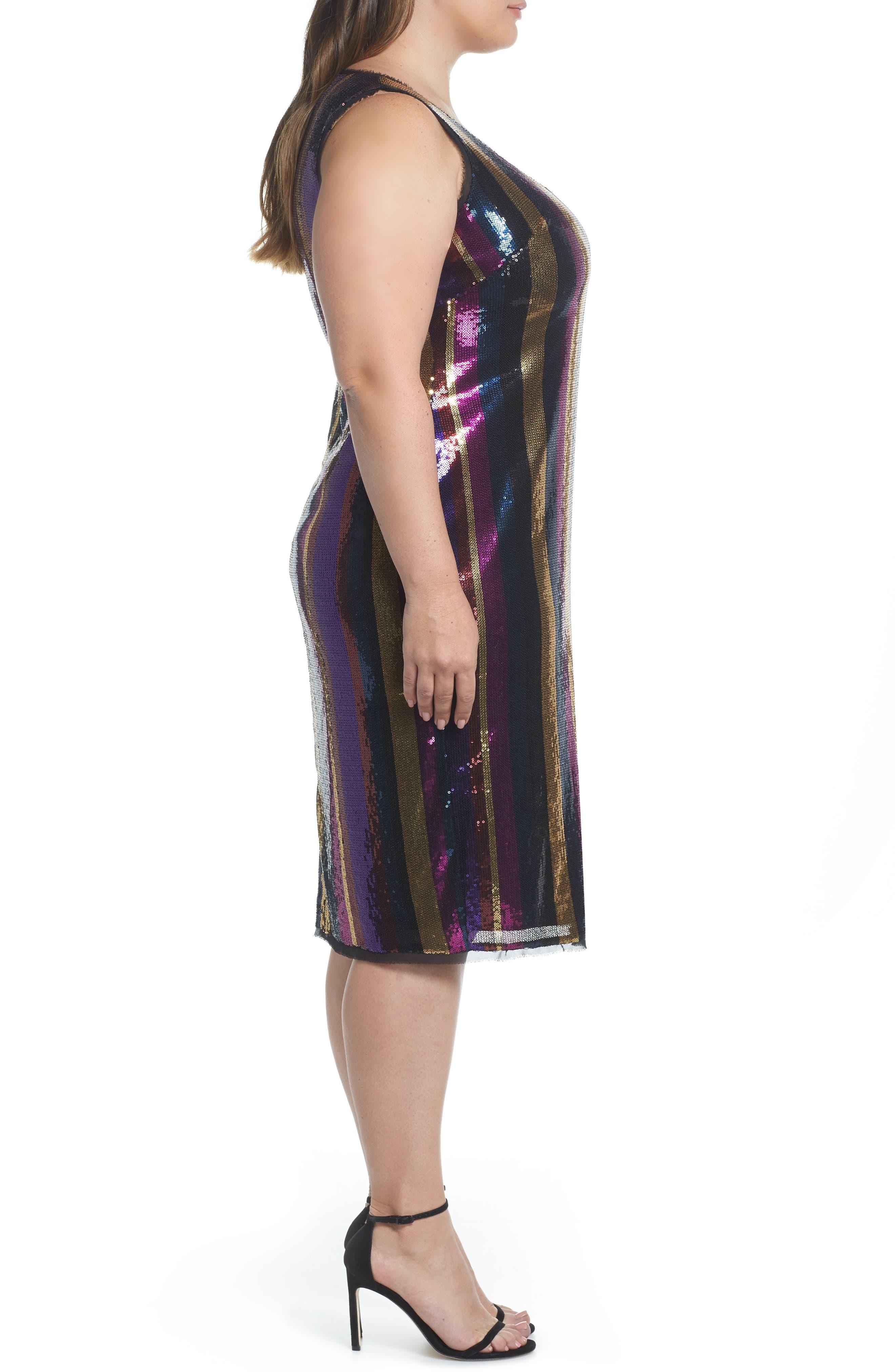 Veda Sequin Stripe Dress,                             Alternate thumbnail 3, color,                             MULTI COLOR COMBO