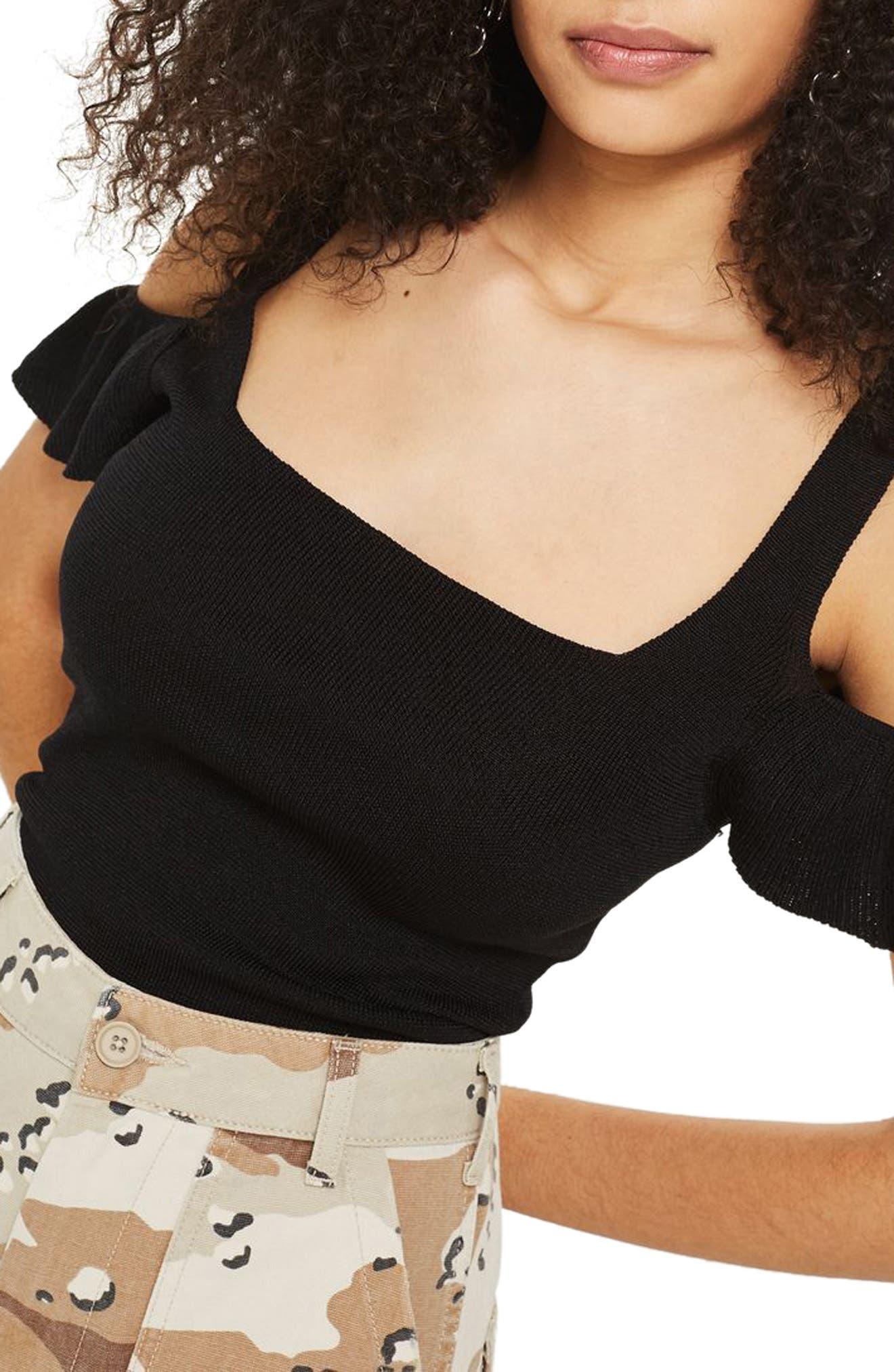 Ruffle Cold Shoulder Knit Top,                             Main thumbnail 1, color,                             001