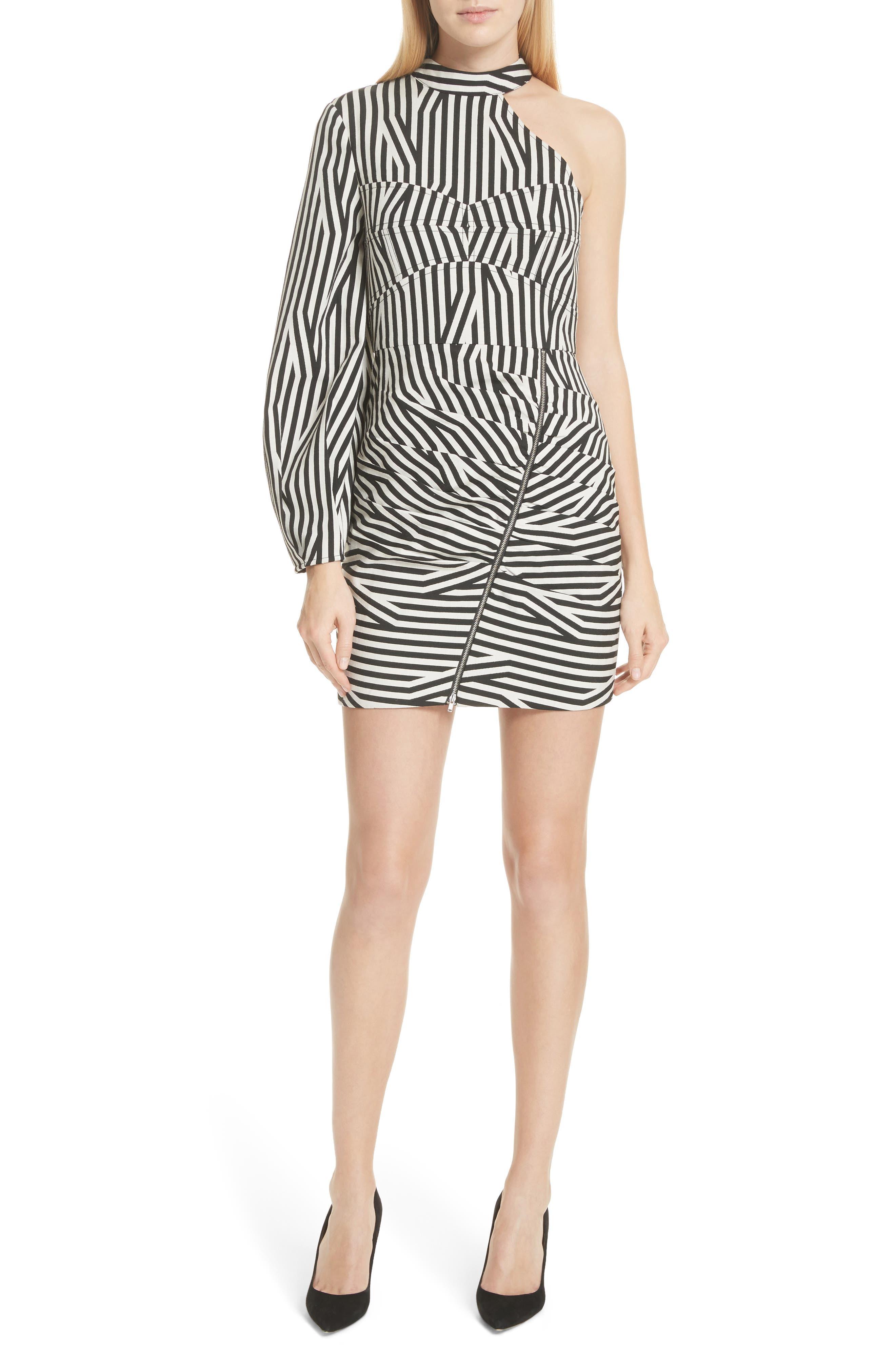 Abstract Stripe Asymmetrical Dress,                             Alternate thumbnail 5, color,                             001