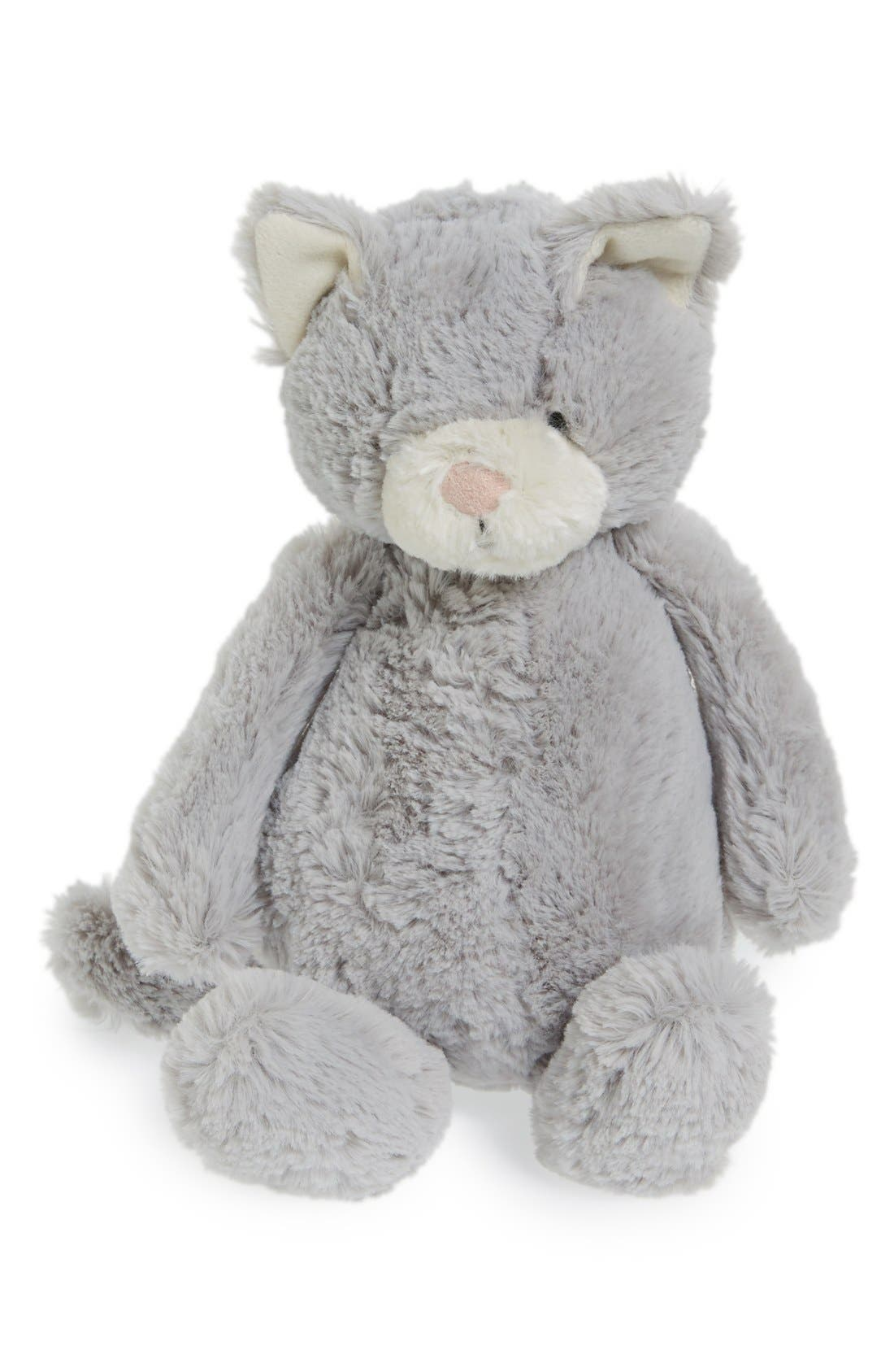 'Medium Bashful Kitty' Stuffed Animal,                             Main thumbnail 1, color,                             GREY/ WHITE
