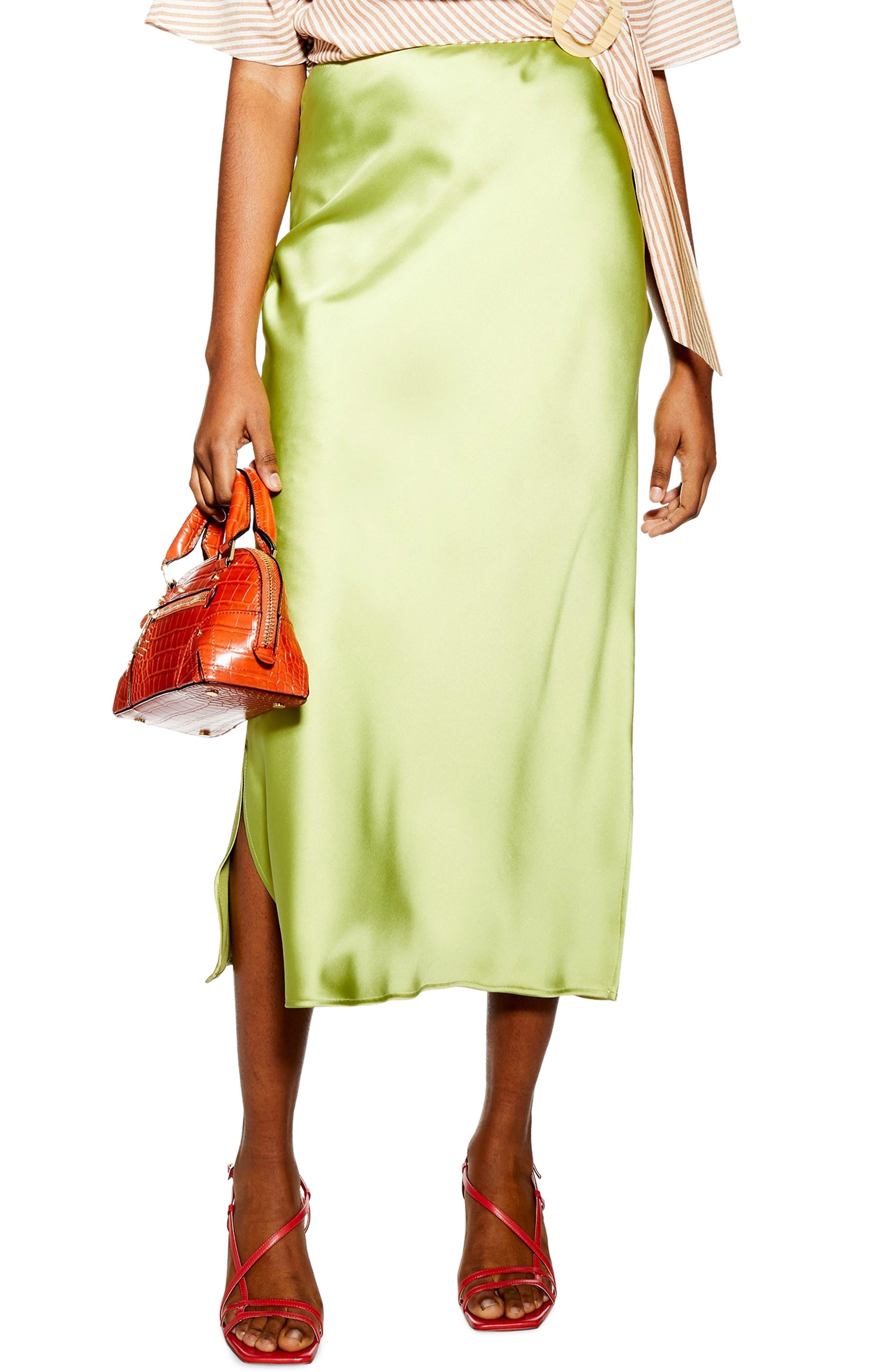 Topshop Split Side Bias Midi Skirt, US (fits like 6-8) - Green