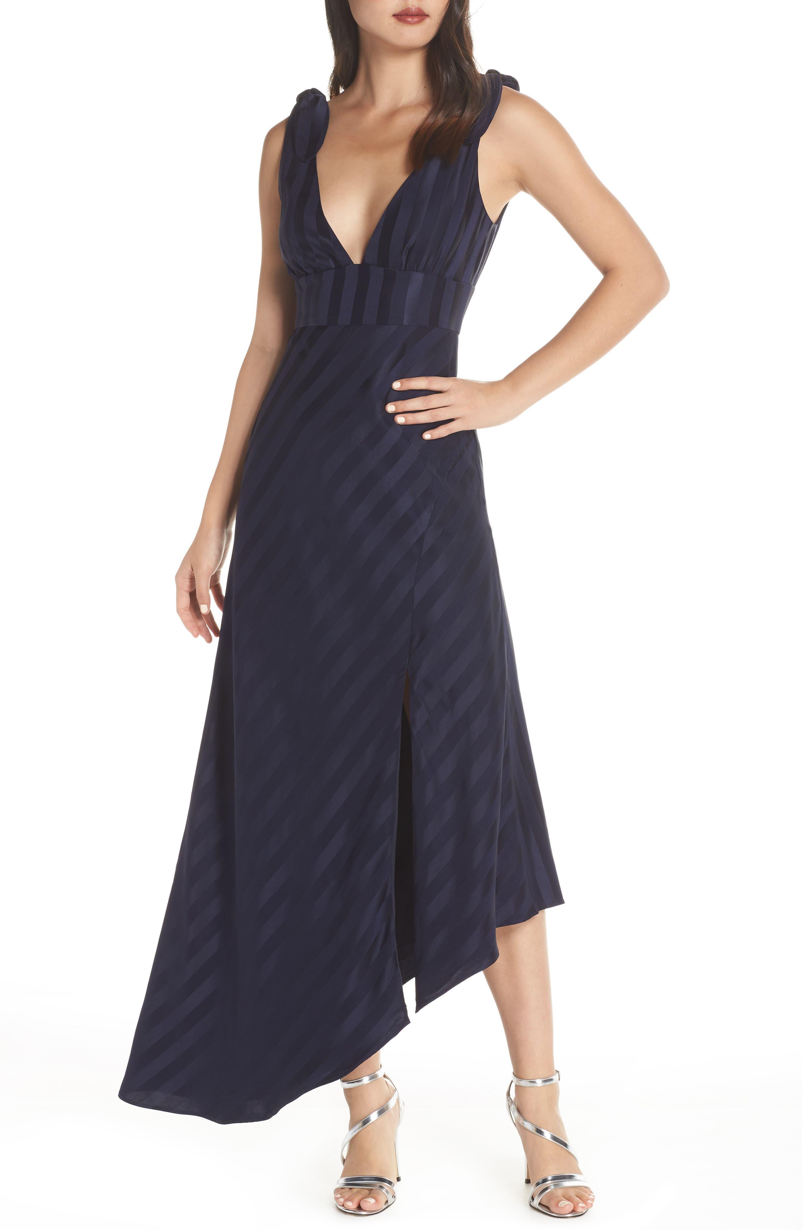 Keepsake The Label Abound Plunging Asymmetrical Evening Dress, Blue
