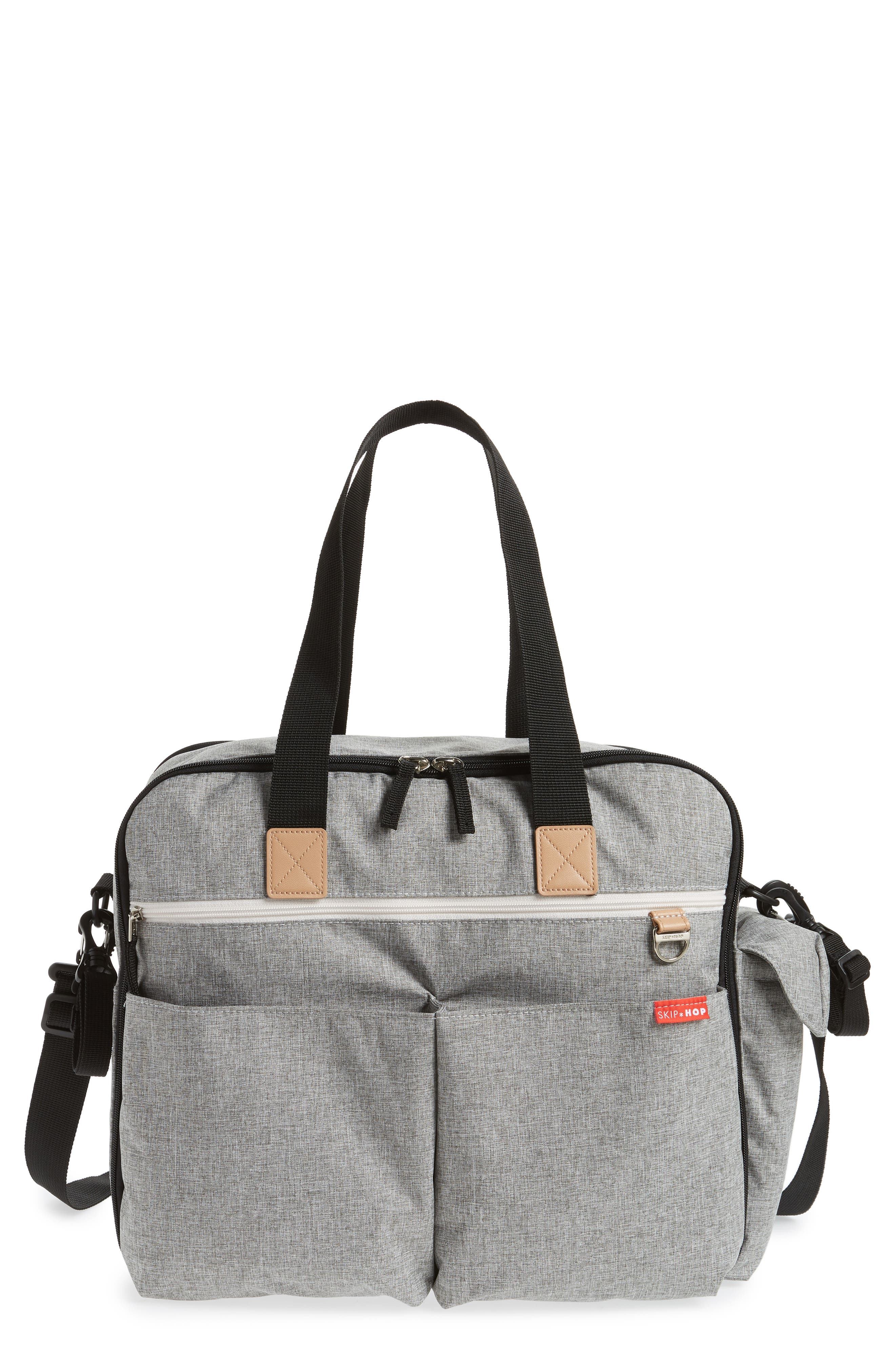 Duo Weekend Diaper Bag,                             Main thumbnail 1, color,                             GREY