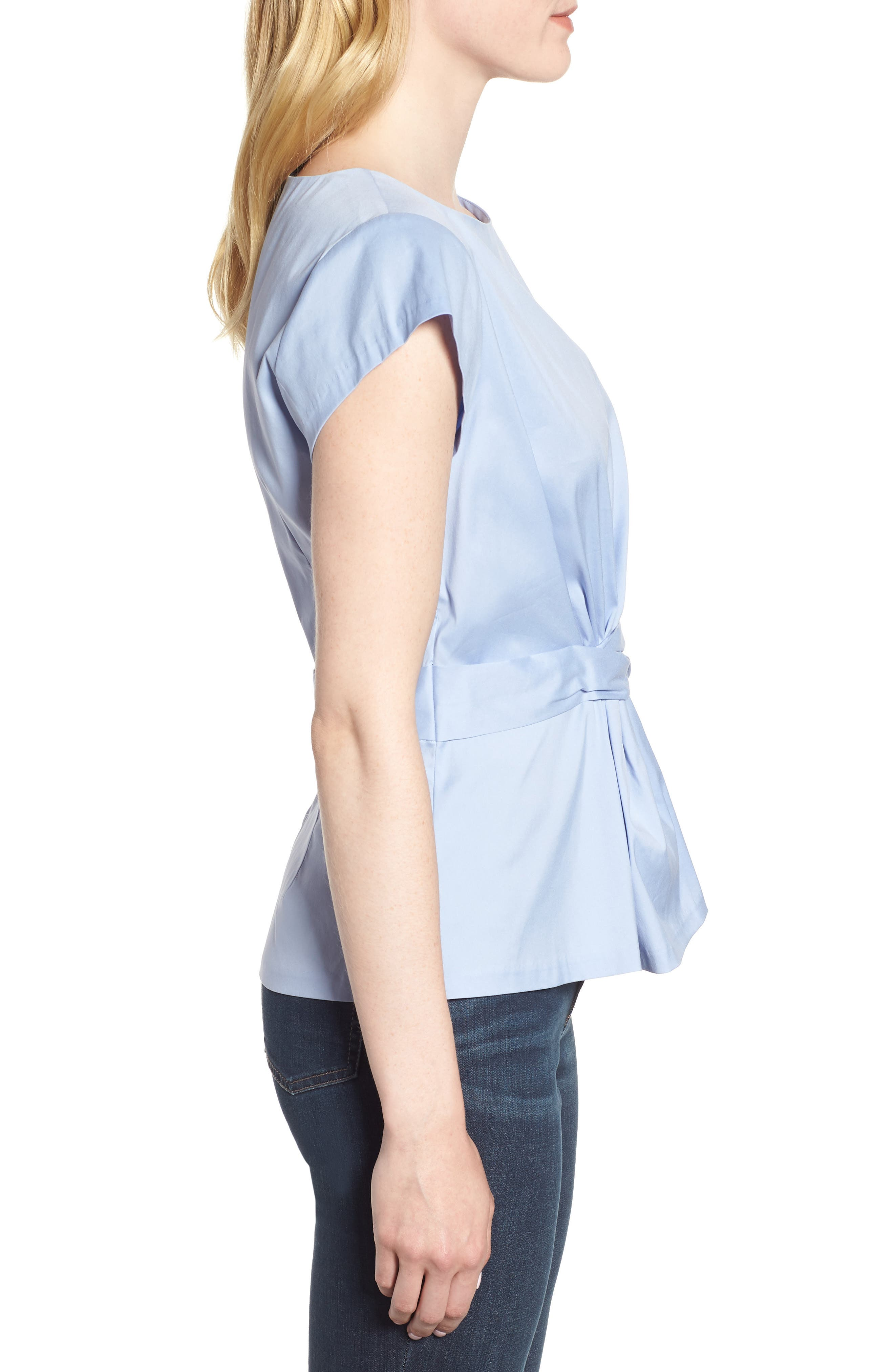 Knot Front Cotton Blend Poplin Blouse,                             Alternate thumbnail 3, color,