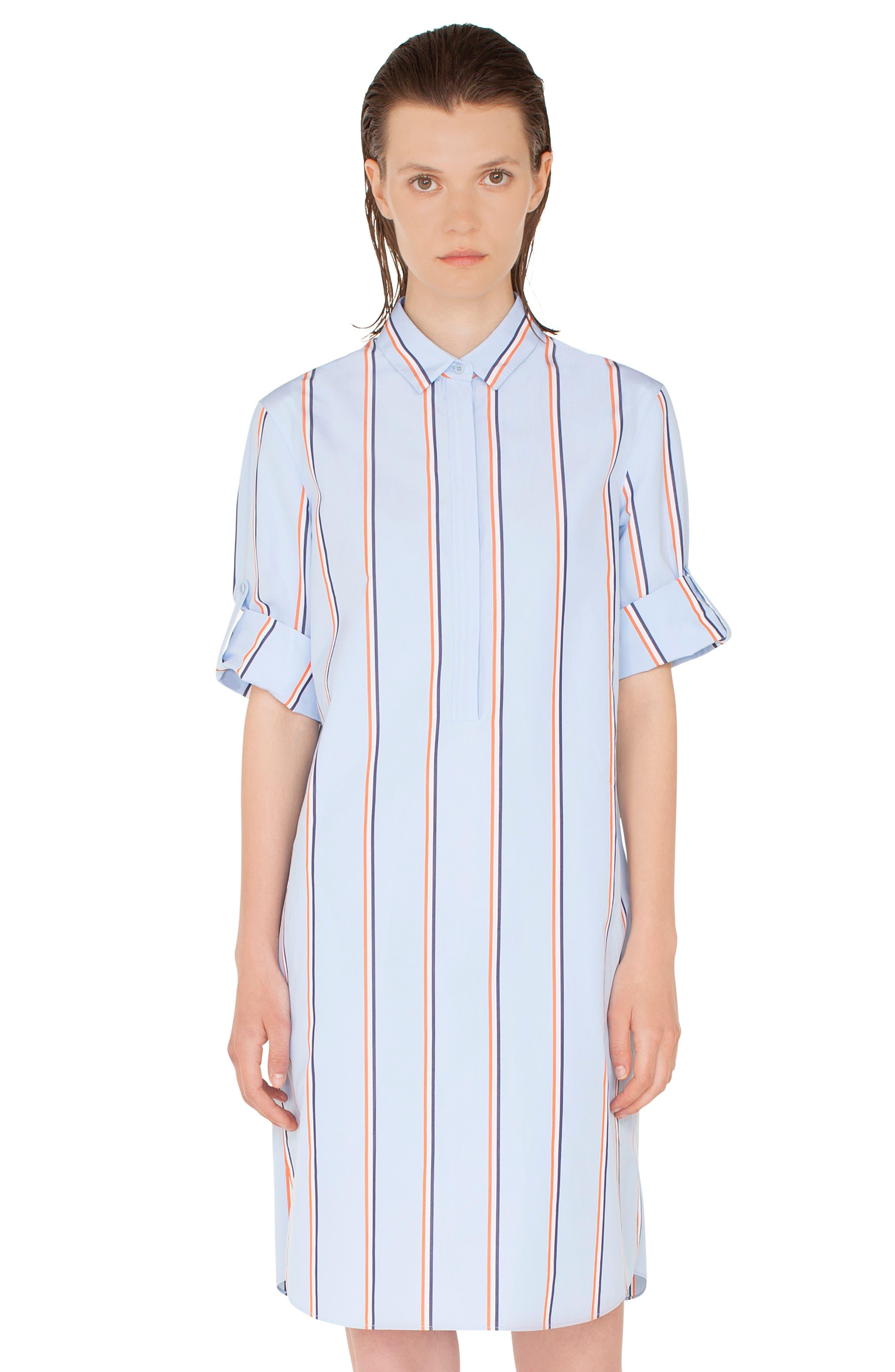 Stripe Cotton Shirtdress,                             Alternate thumbnail 4, color,                             CIELO-MULTICOLOR