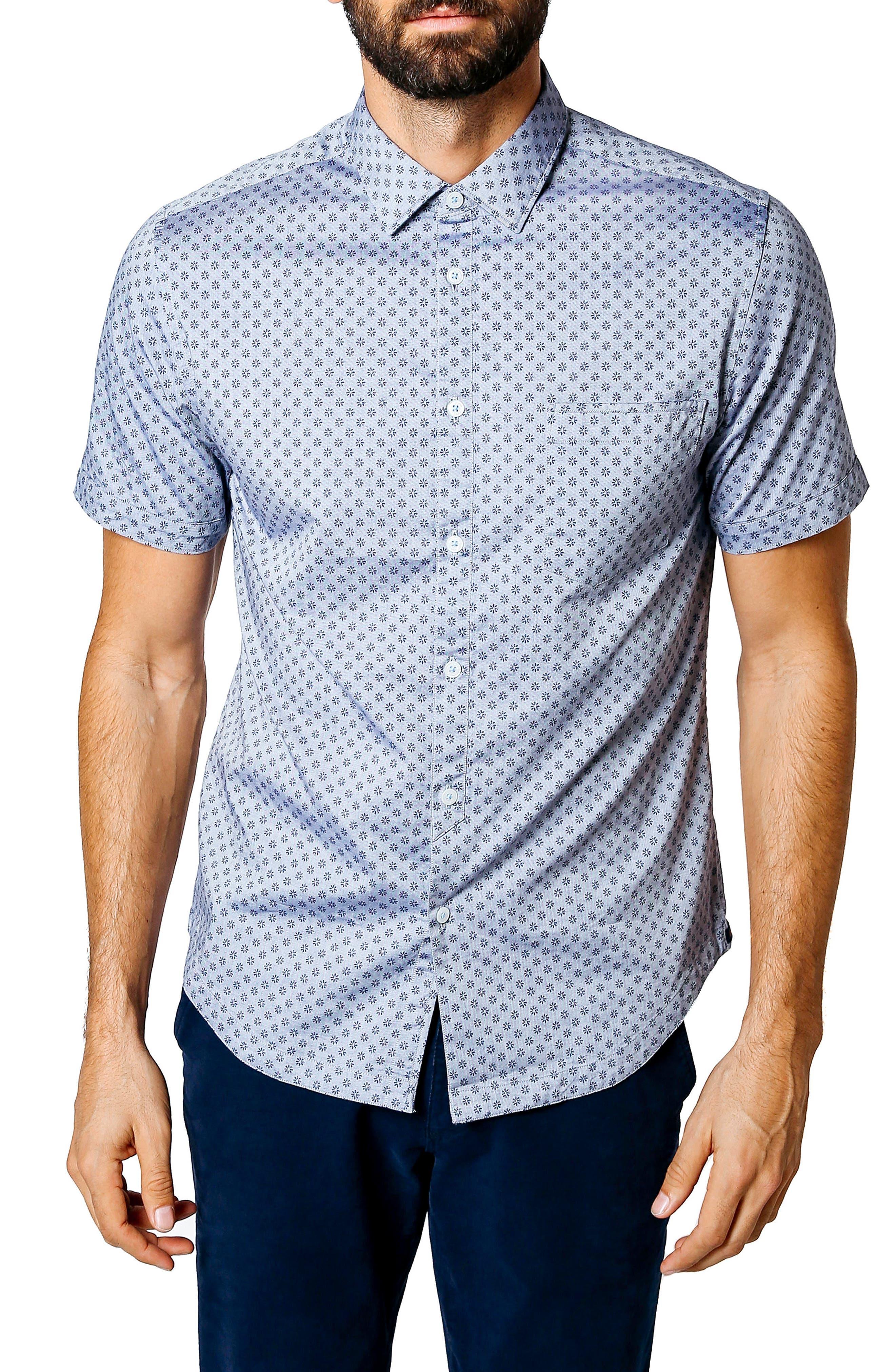 Trim Fit Micro Floral Sport Shirt,                         Main,                         color, INDIGO
