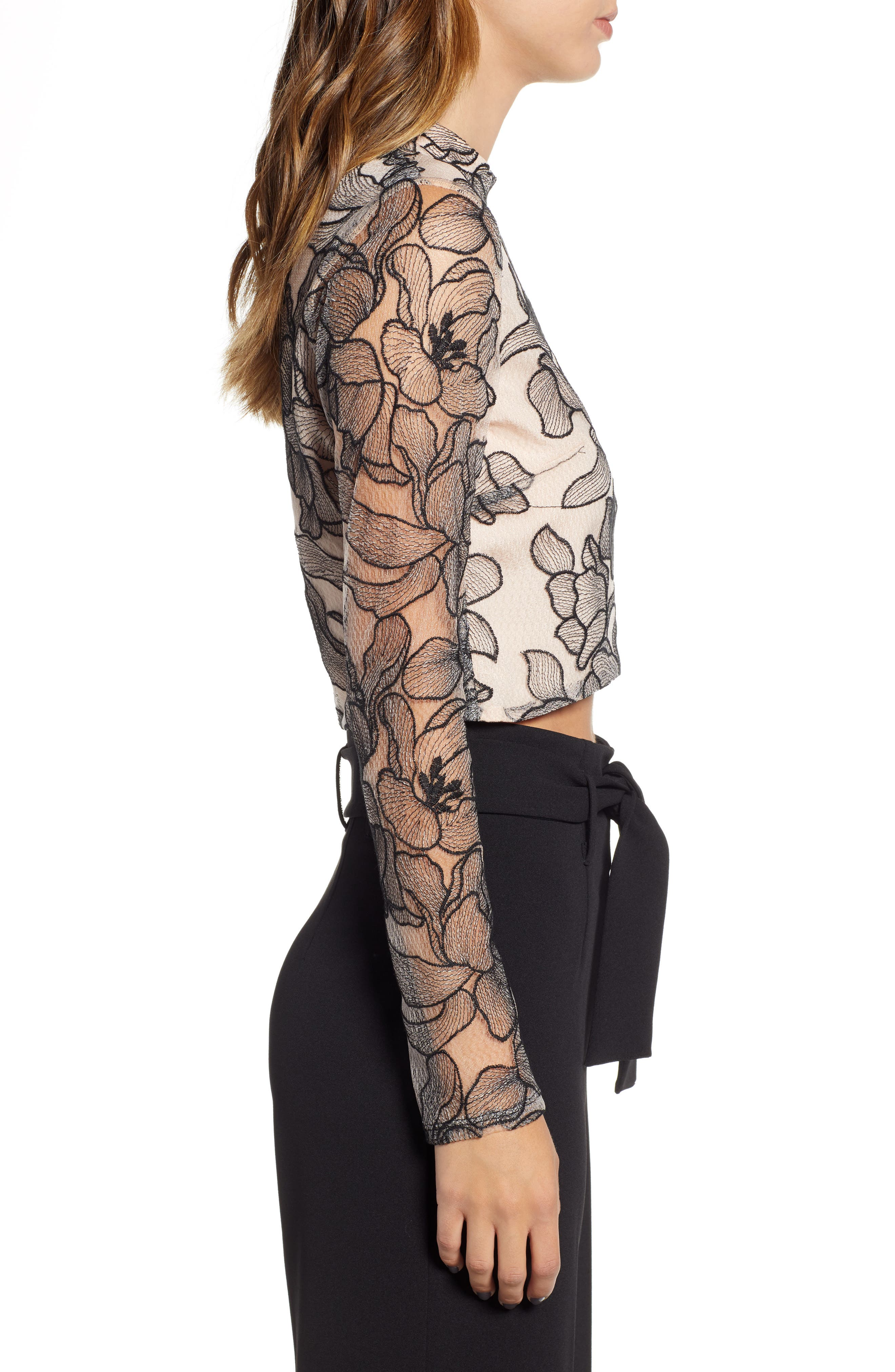 Mina Cropped Lace Top,                             Alternate thumbnail 3, color,                             BLACK NUDE LACE