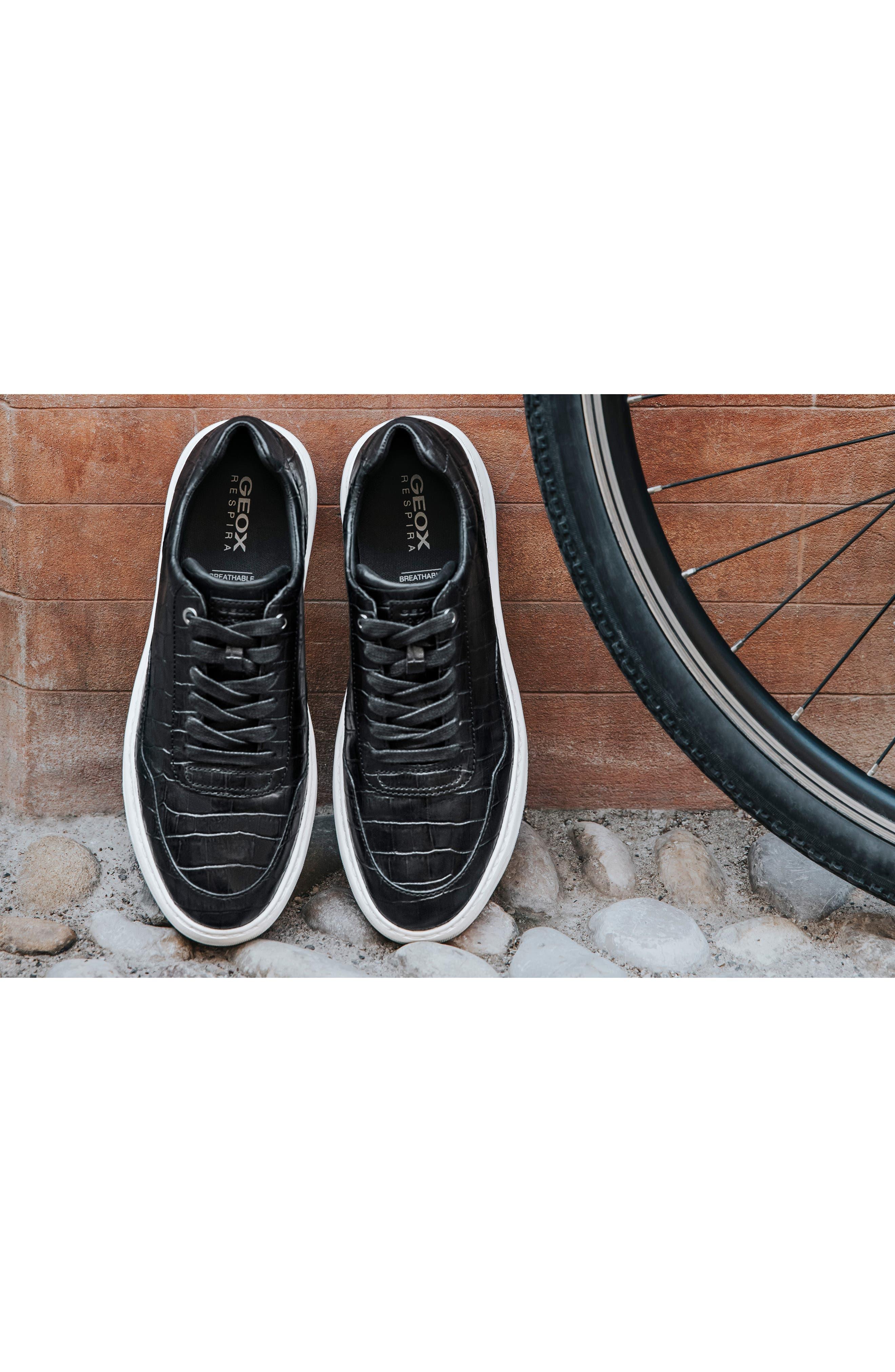 Deiven 8 Croc Textured Low Top Sneaker,                             Alternate thumbnail 9, color,                             BLACK LEATHER
