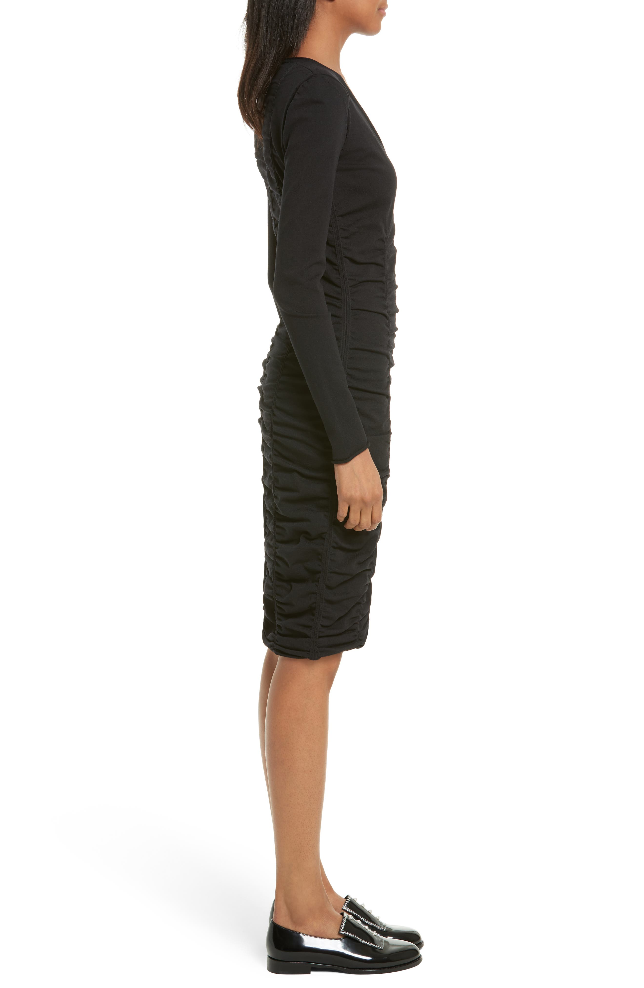 Ruched Dress,                             Alternate thumbnail 3, color,                             001