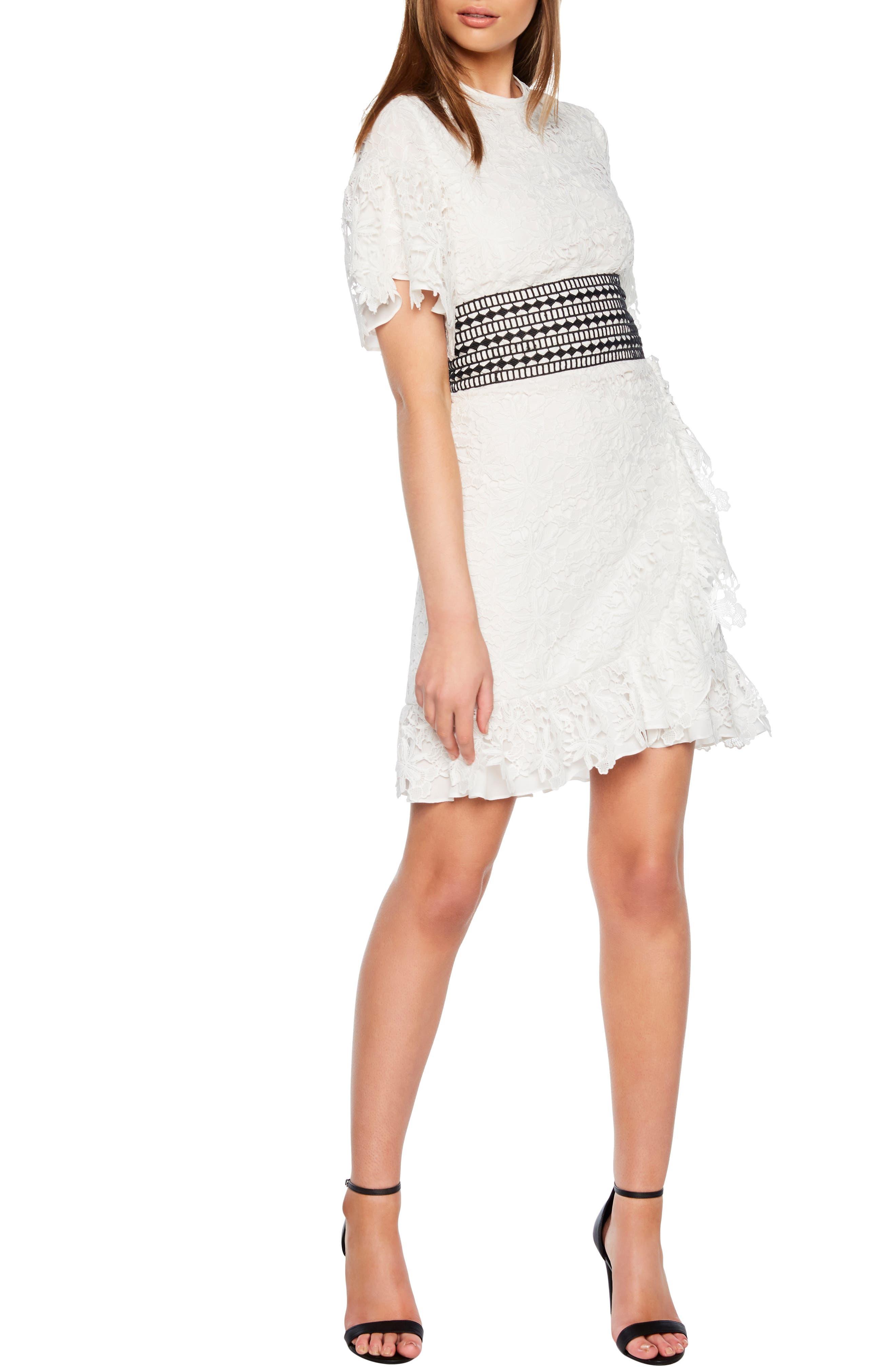 Bardot Reese Lace A-Line Dress, Ivory
