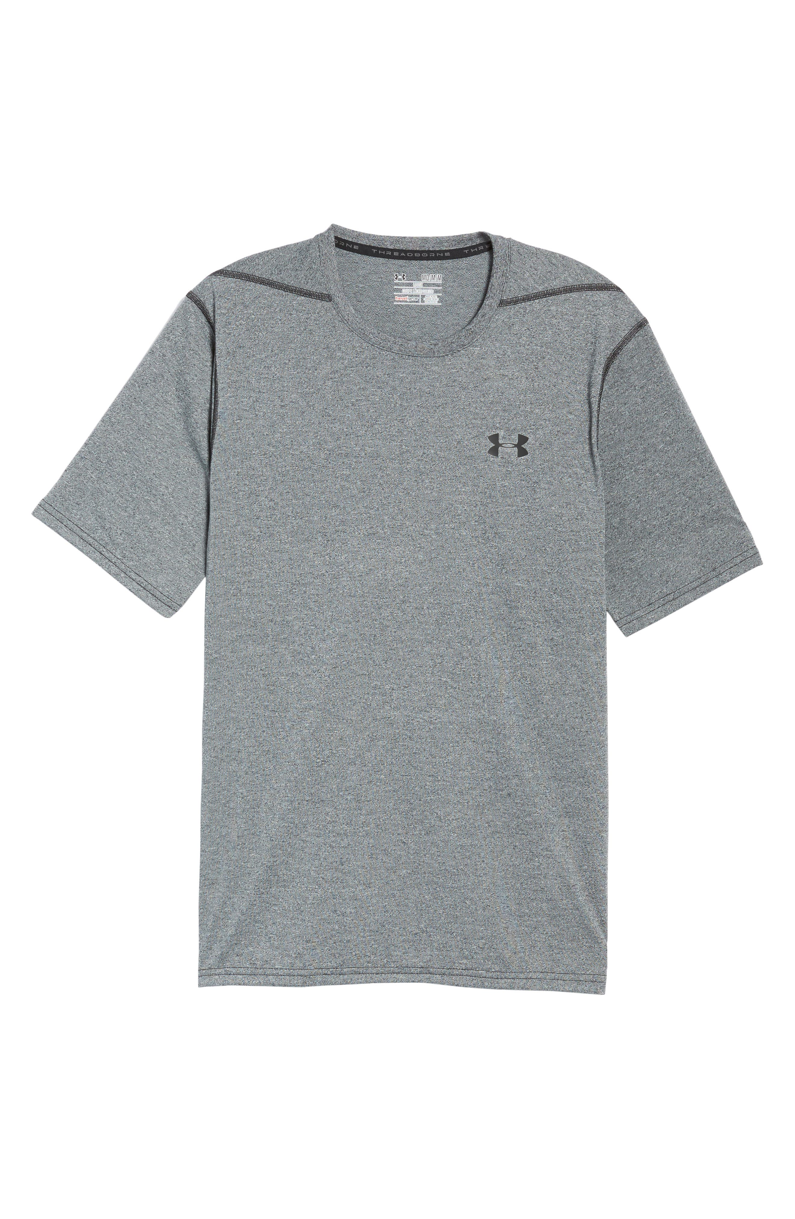 Regular Fit Threadborne T-Shirt,                             Alternate thumbnail 6, color,                             BLACK TWIST