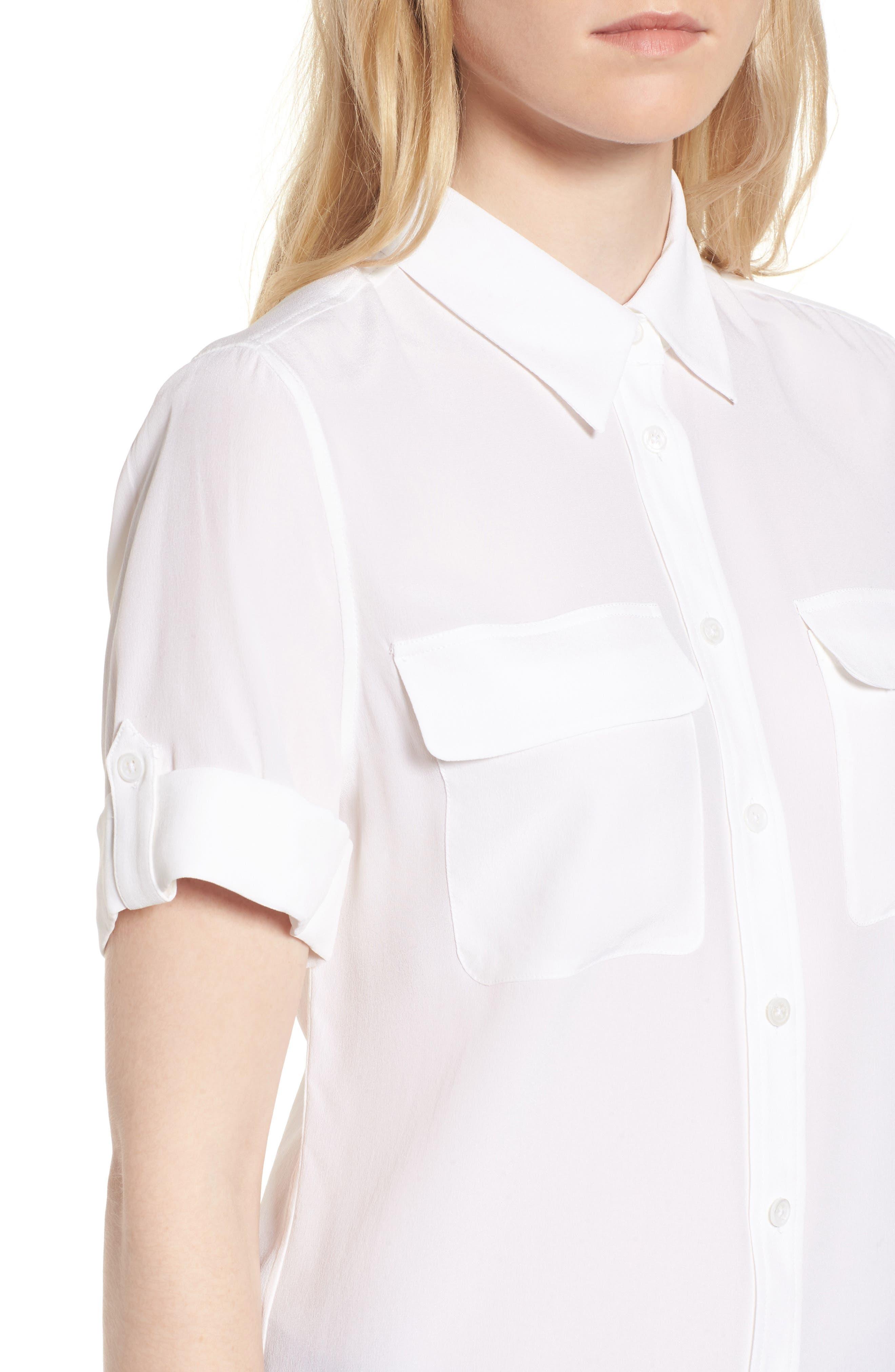 Slim Signature Short Sleeve Silk Shirt,                             Alternate thumbnail 5, color,                             111