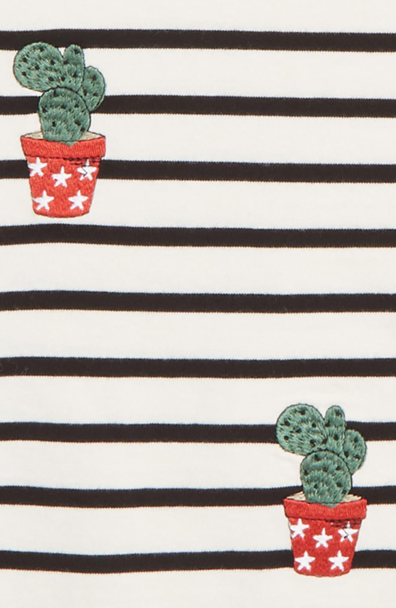 Stripe Cacti Tee,                             Alternate thumbnail 2, color,                             FRESH CREAM BLACK