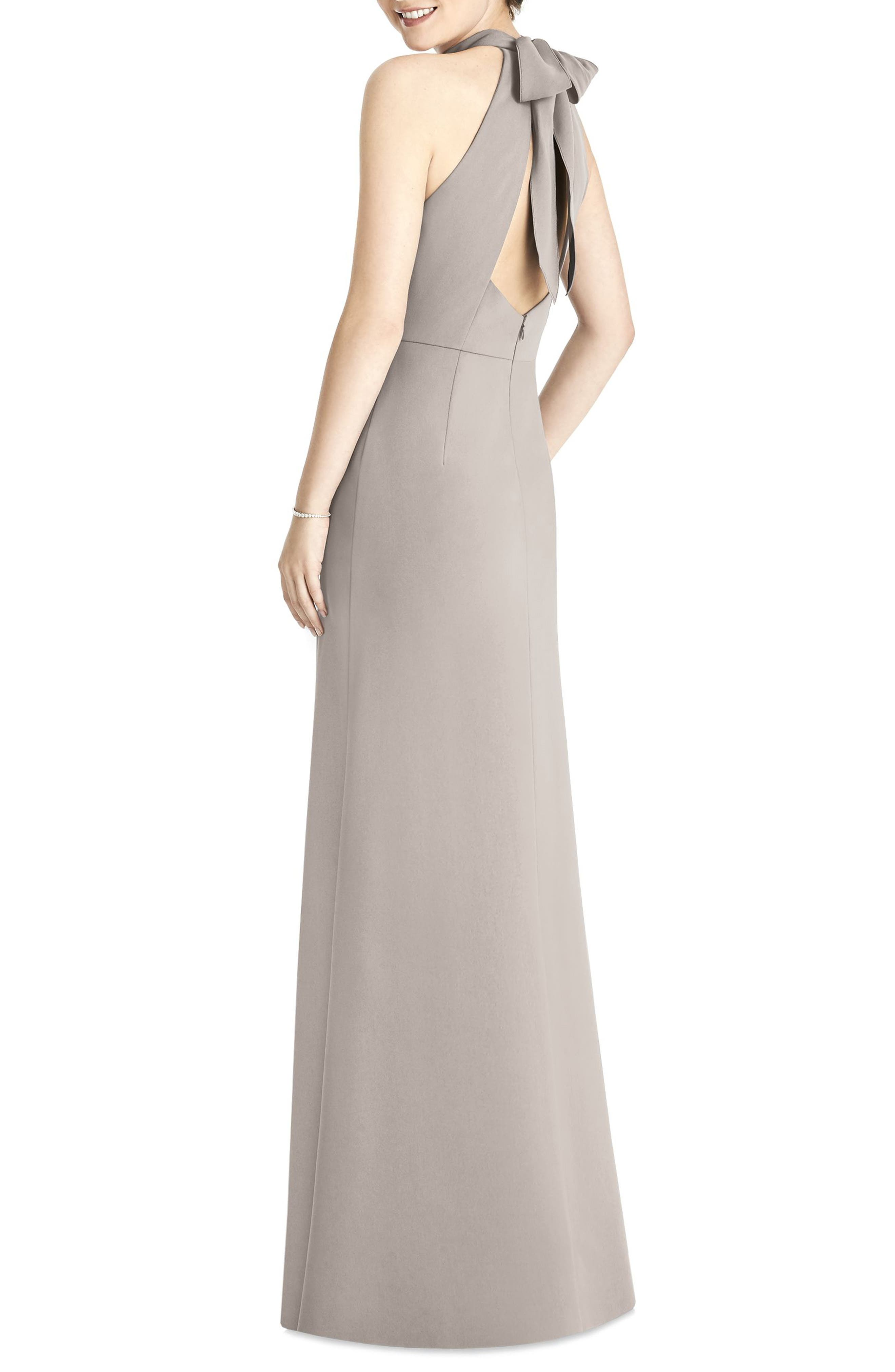 Crepe Halter Gown,                             Alternate thumbnail 2, color,                             TAUPE