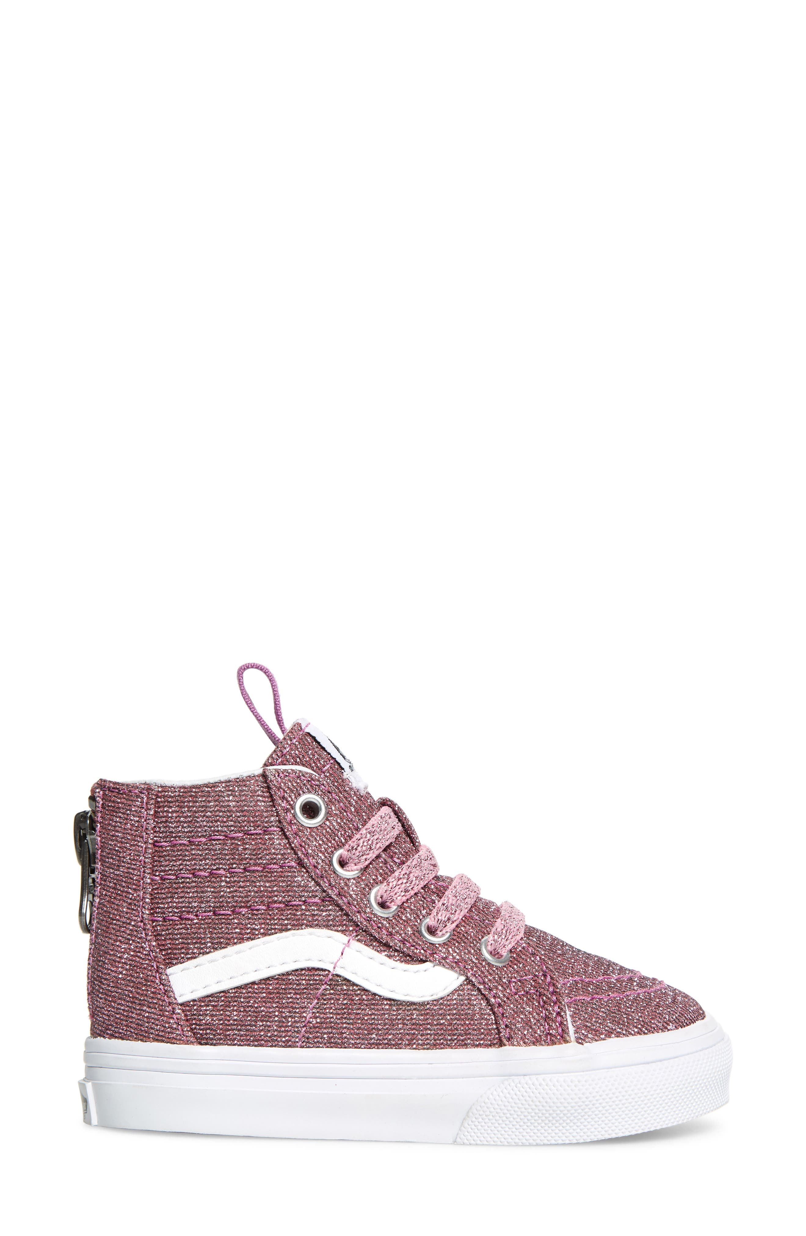 Sk8-Hi Zip Sneaker,                             Alternate thumbnail 3, color,                             LUREX GLITTER PINK/ TRUE WHITE