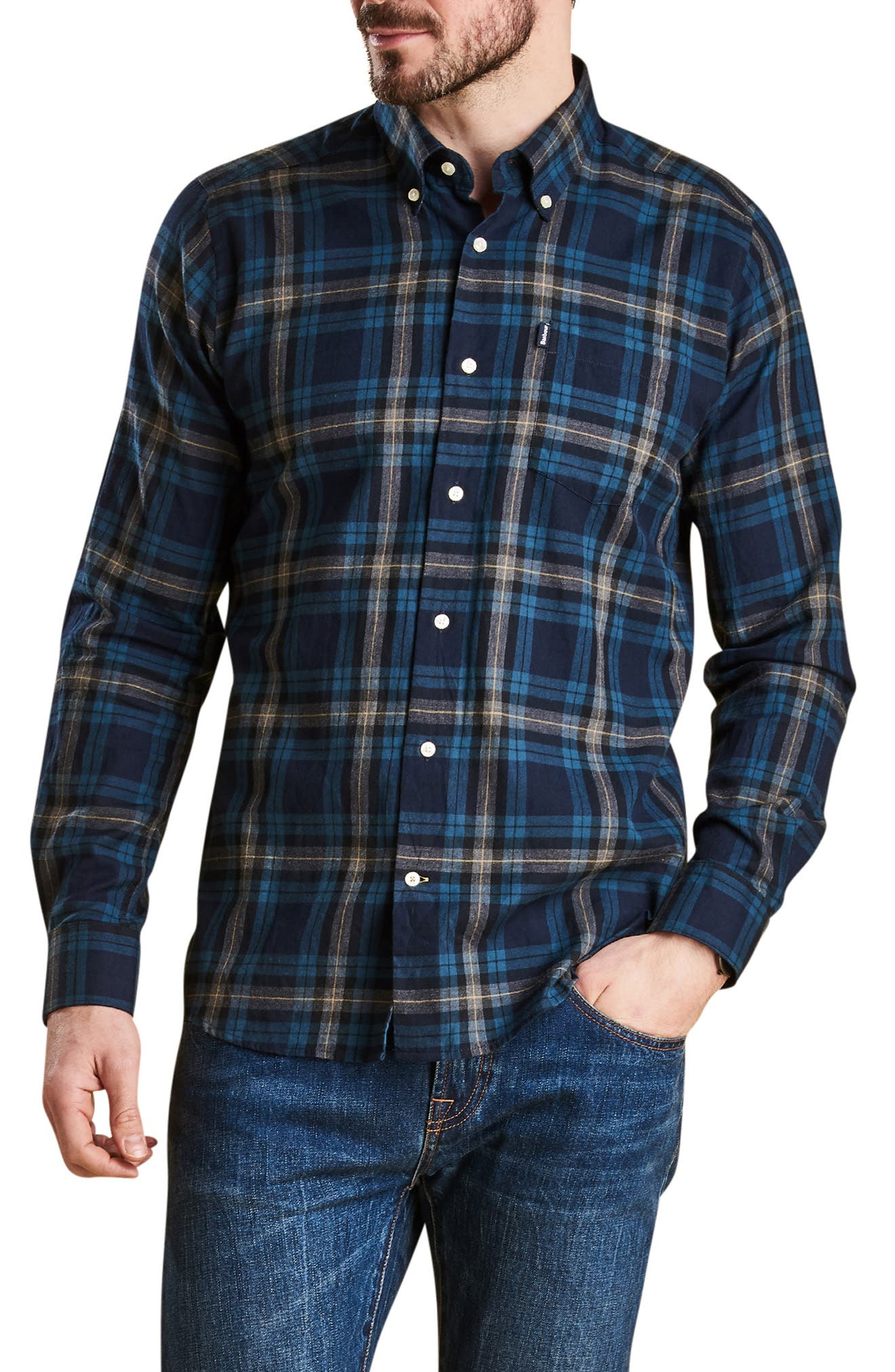 Stapleton Highland Check Sport Shirt,                             Main thumbnail 1, color,                             NAVY