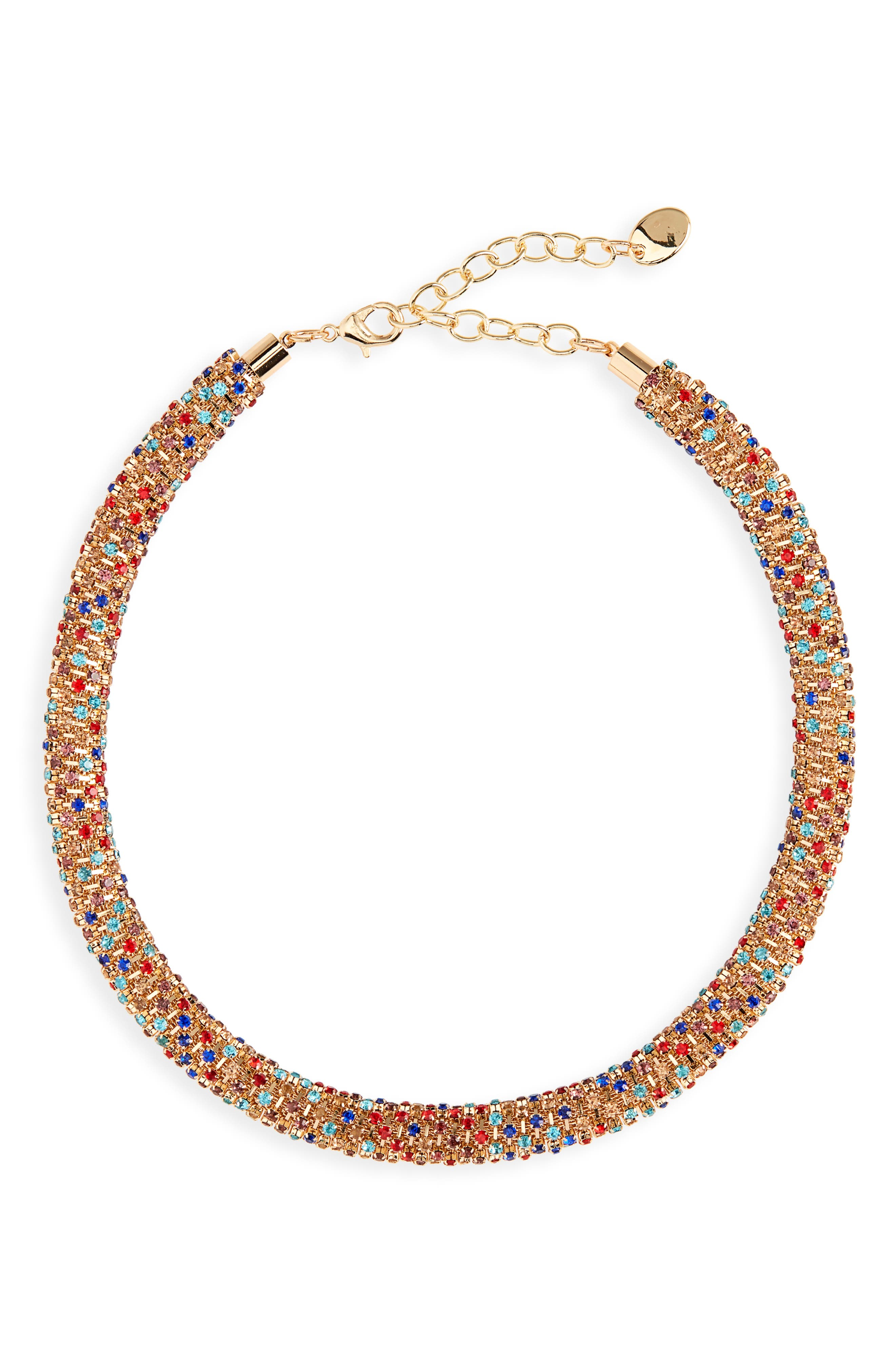 STELLA + RUBY Tani Crystal Collar Necklace in Gold/ Multi