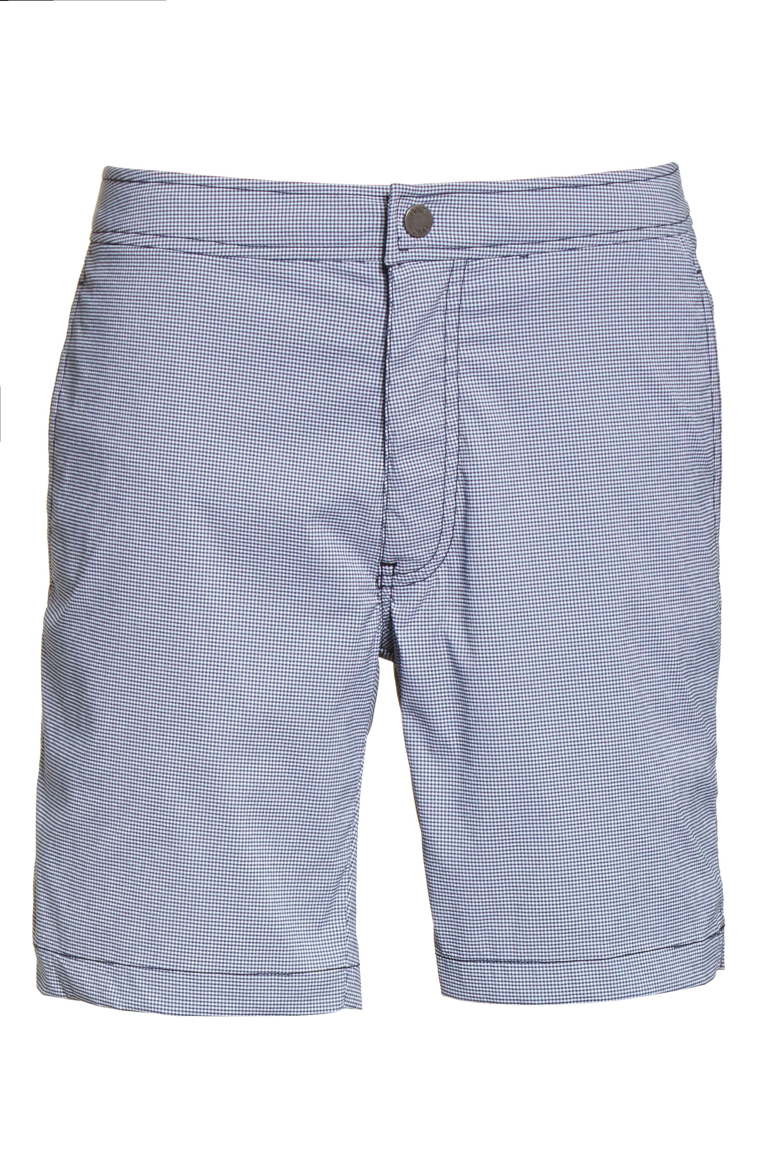 Calder Gingham Board Shorts,                             Alternate thumbnail 6, color,                             DEEP NAVY/WHITE