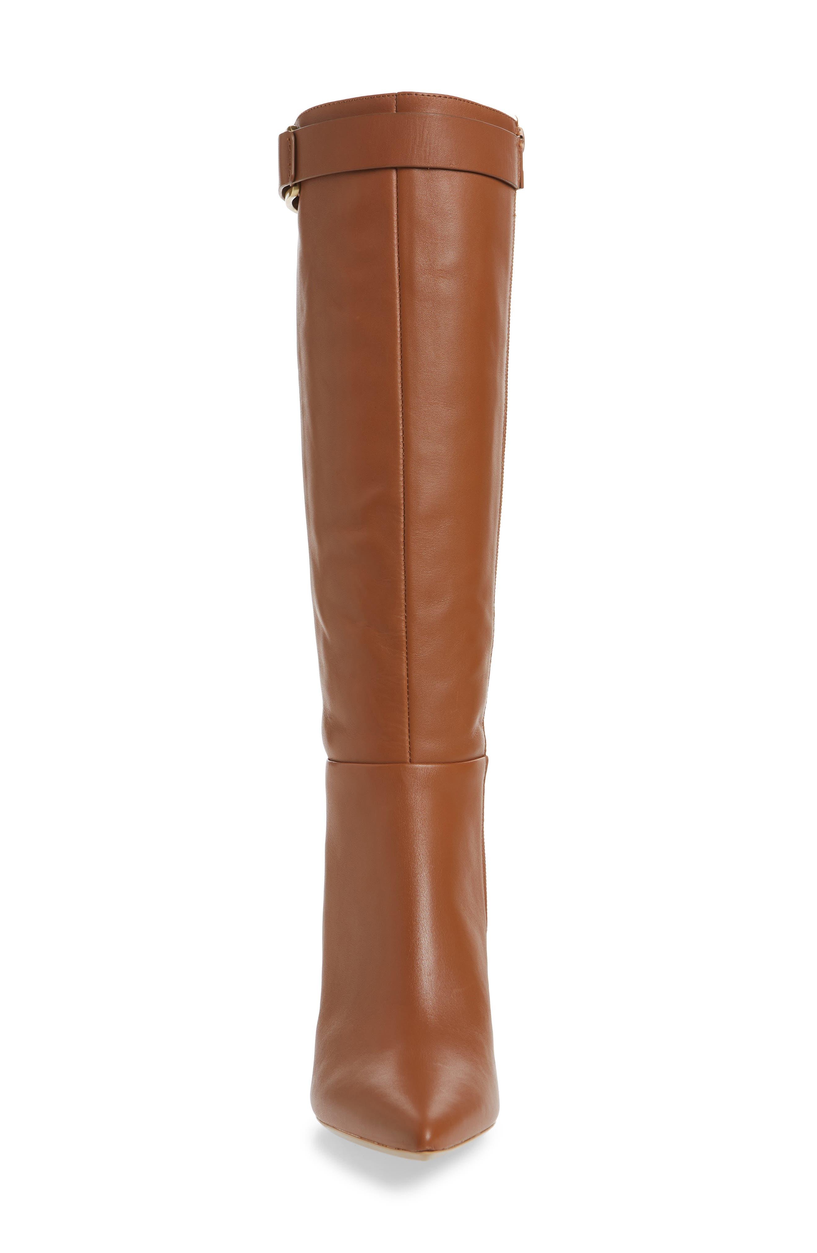 Glydia Stiletto Knee High Boot,                             Alternate thumbnail 4, color,                             COGNAC LEATHER