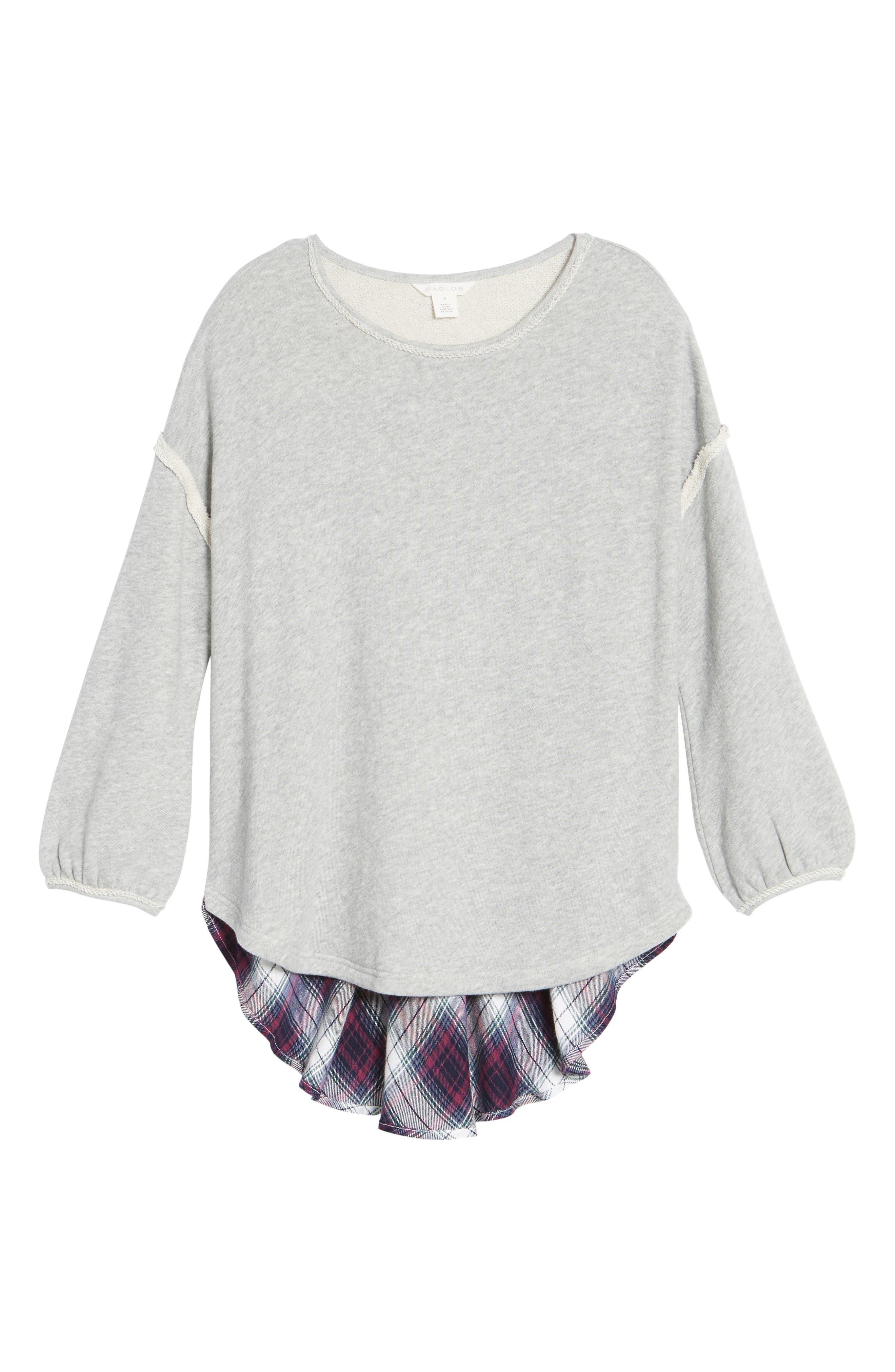 Layered Look Sweatshirt,                             Alternate thumbnail 6, color,                             021