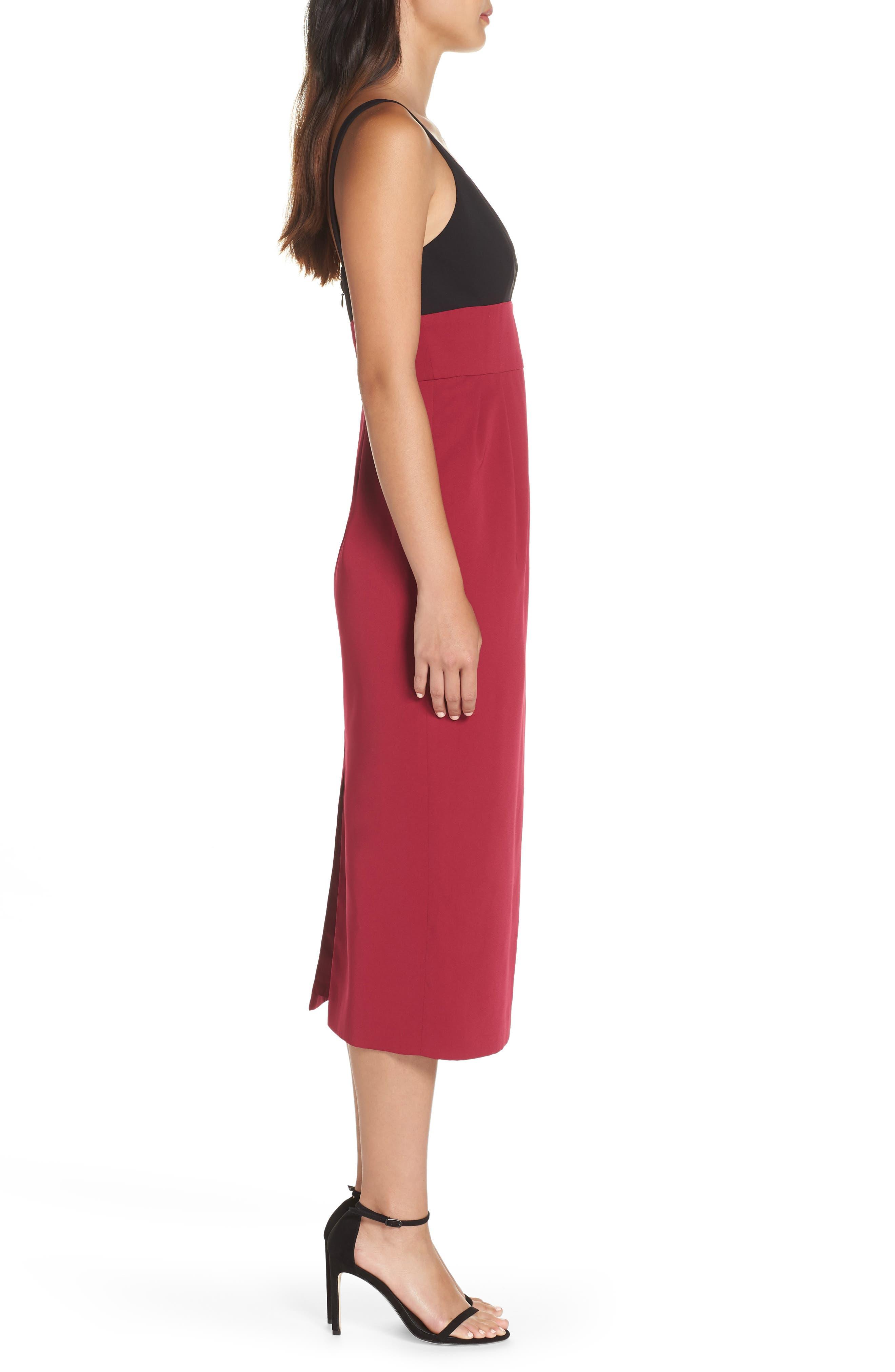 Colorblock Midi Dress,                             Alternate thumbnail 3, color,                             BLACK/ WINEBERRY