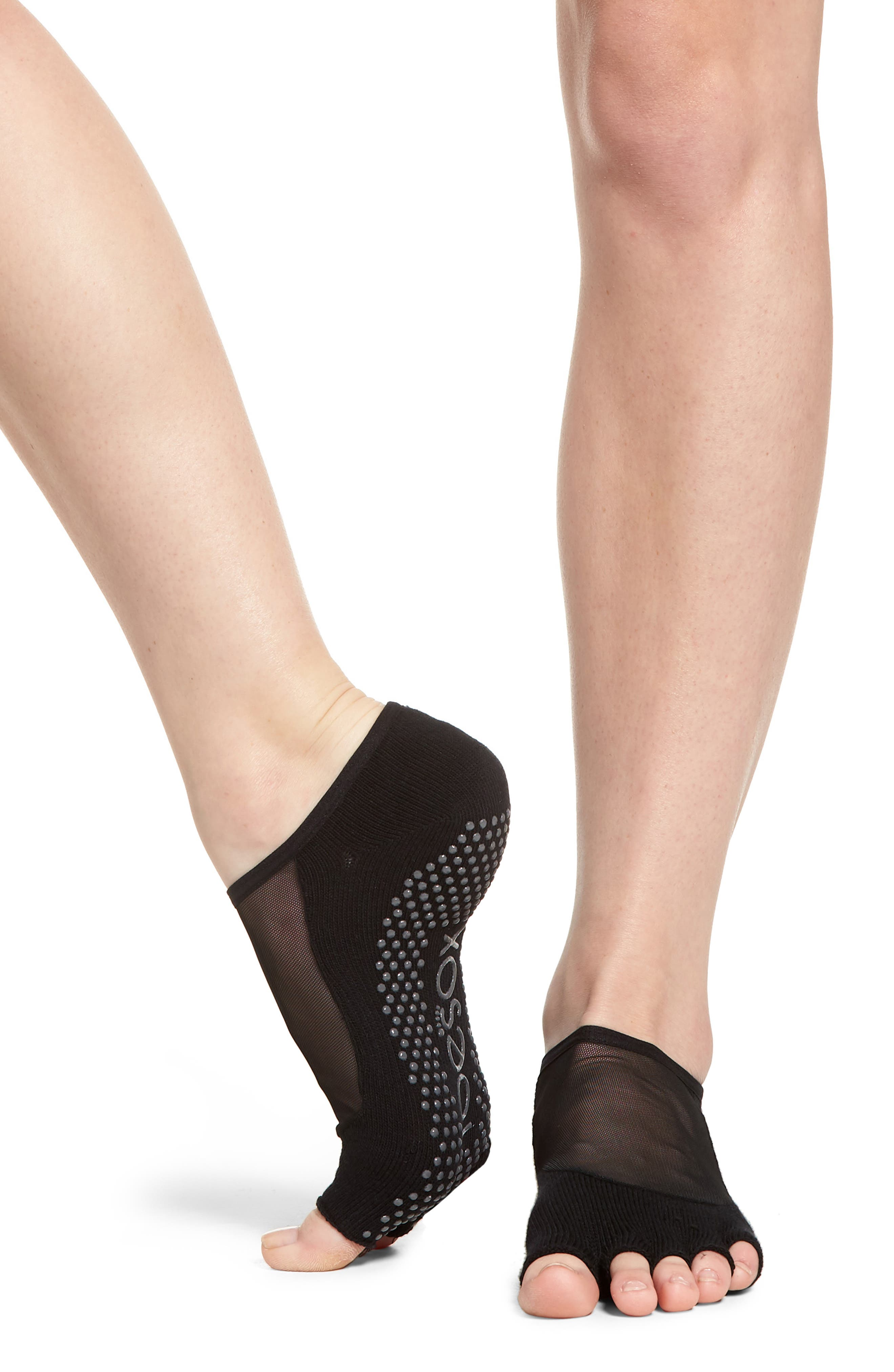 Luna Half Toe Gripper Socks,                             Alternate thumbnail 2, color,                             BLACK