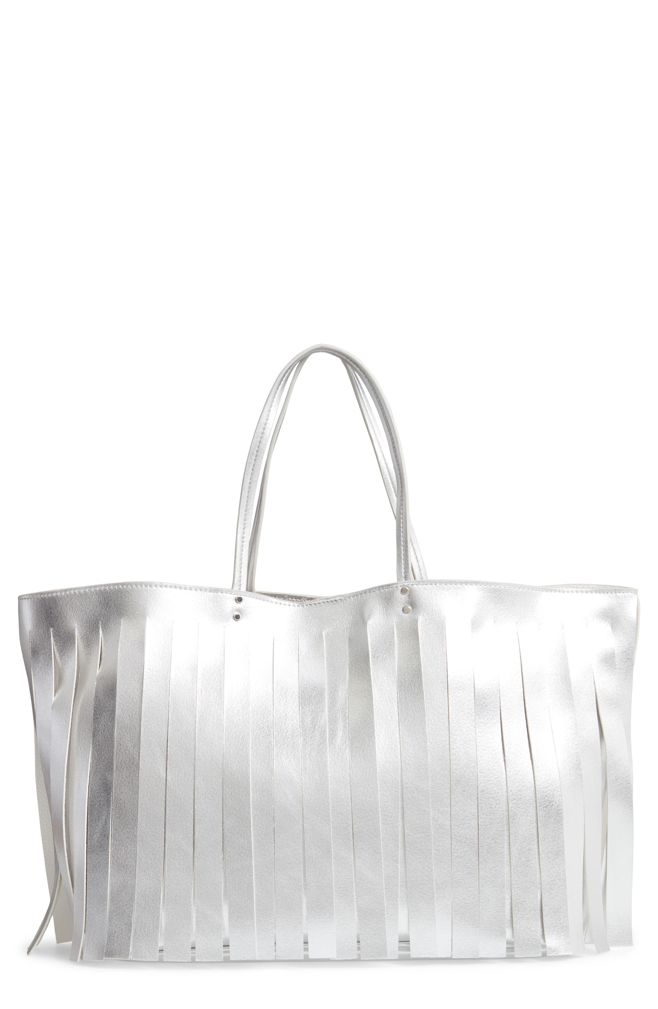 Corrie Fringe Faux Leather Tote,                         Main,                         color, SILVER