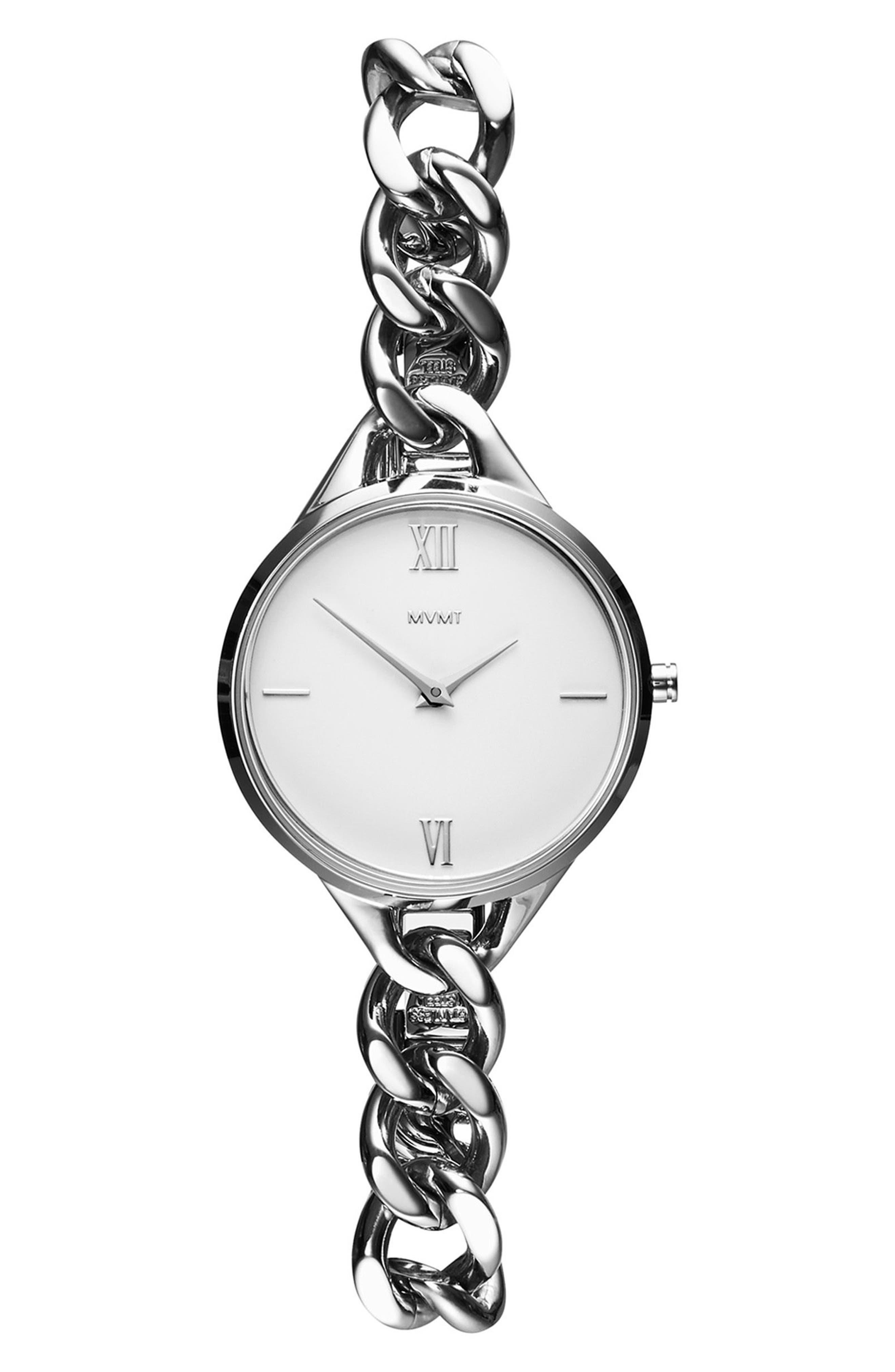 Gala Chain Bracelet Watch, 32mm,                             Main thumbnail 1, color,                             SILVER/ WHITE/ SILVER
