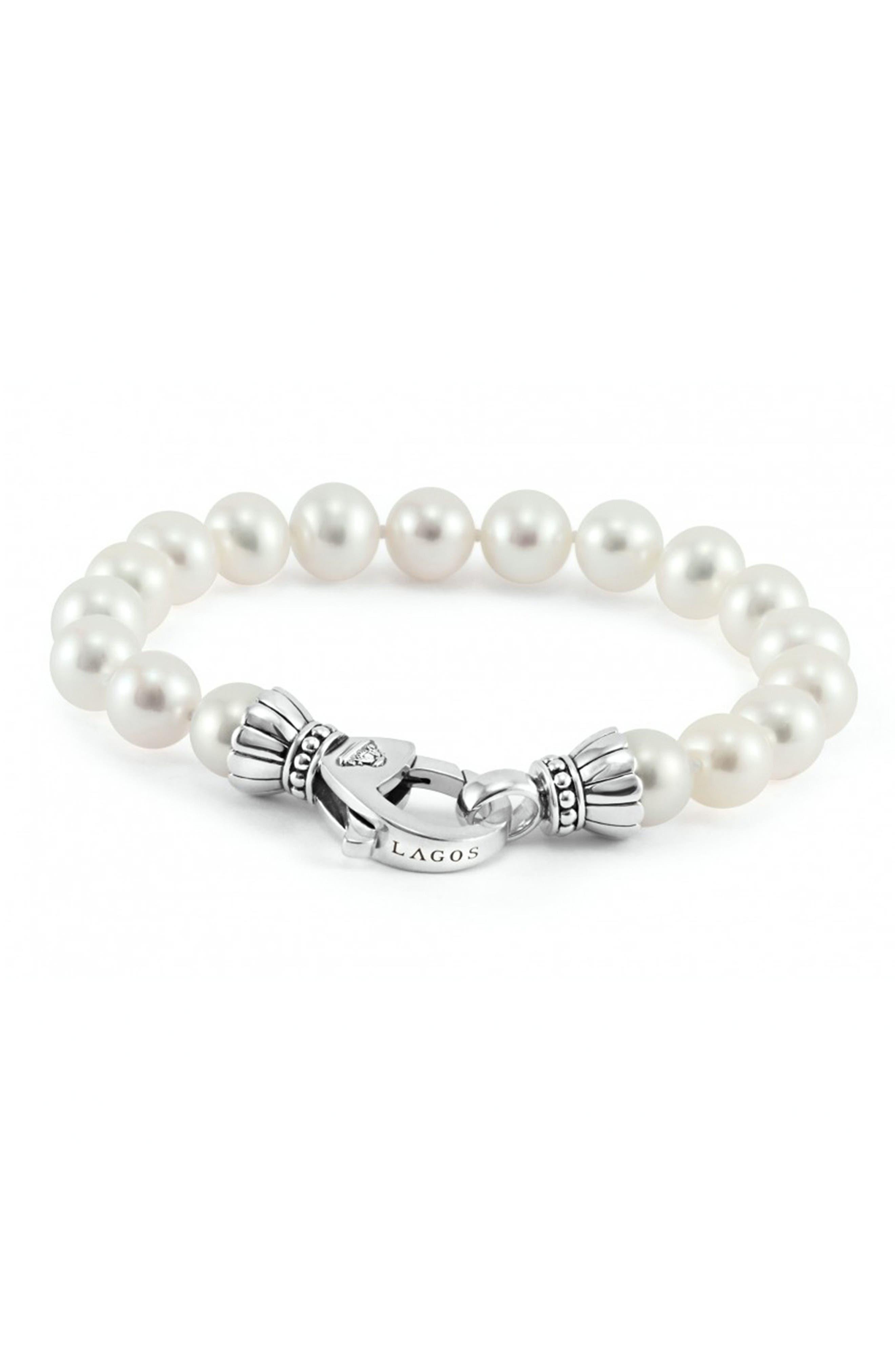'Luna' 9mm Pearl Bracelet,                             Alternate thumbnail 3, color,                             040