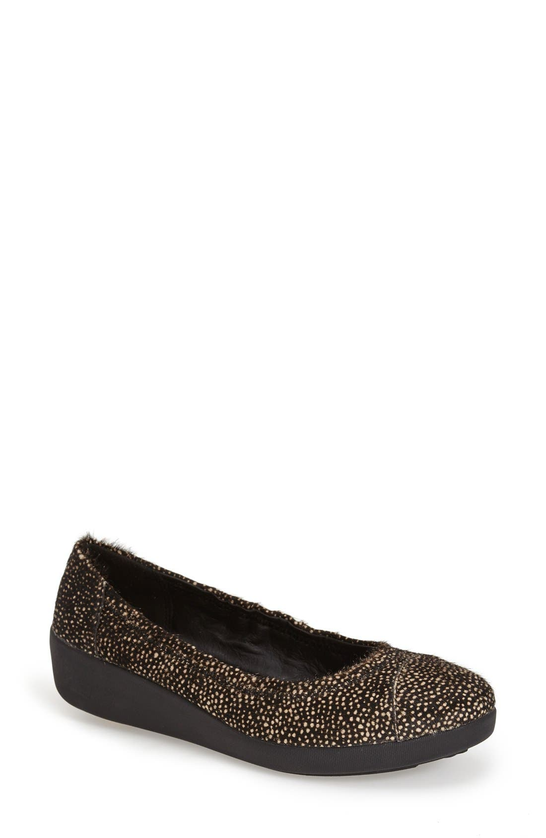 FITFLOP  'F-Pop' Leather Ballerina Flat, Main, color, 017