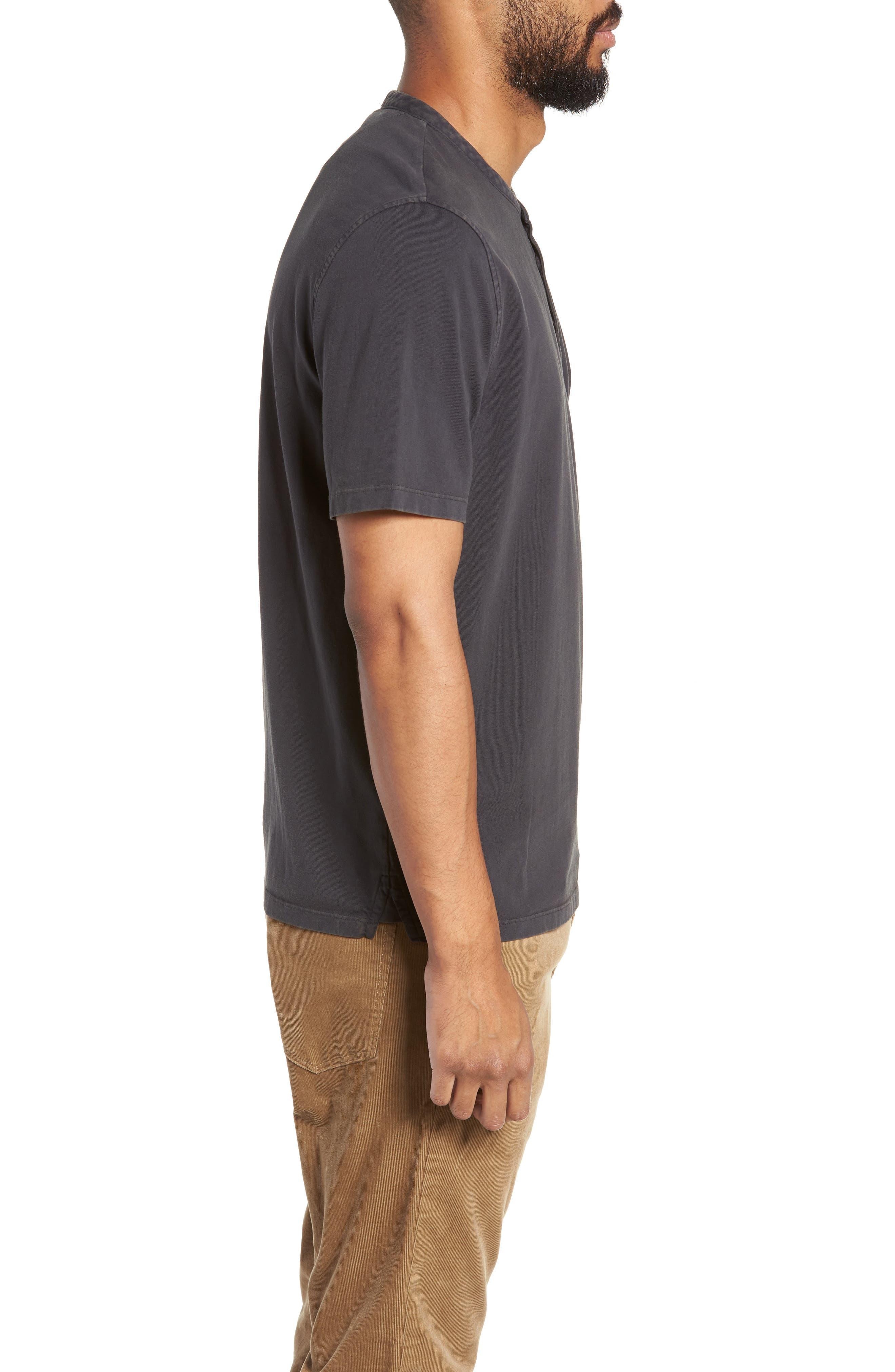 VINCE,                             Regular Fit Garment Dye Short Sleeve Henley,                             Alternate thumbnail 3, color,                             001