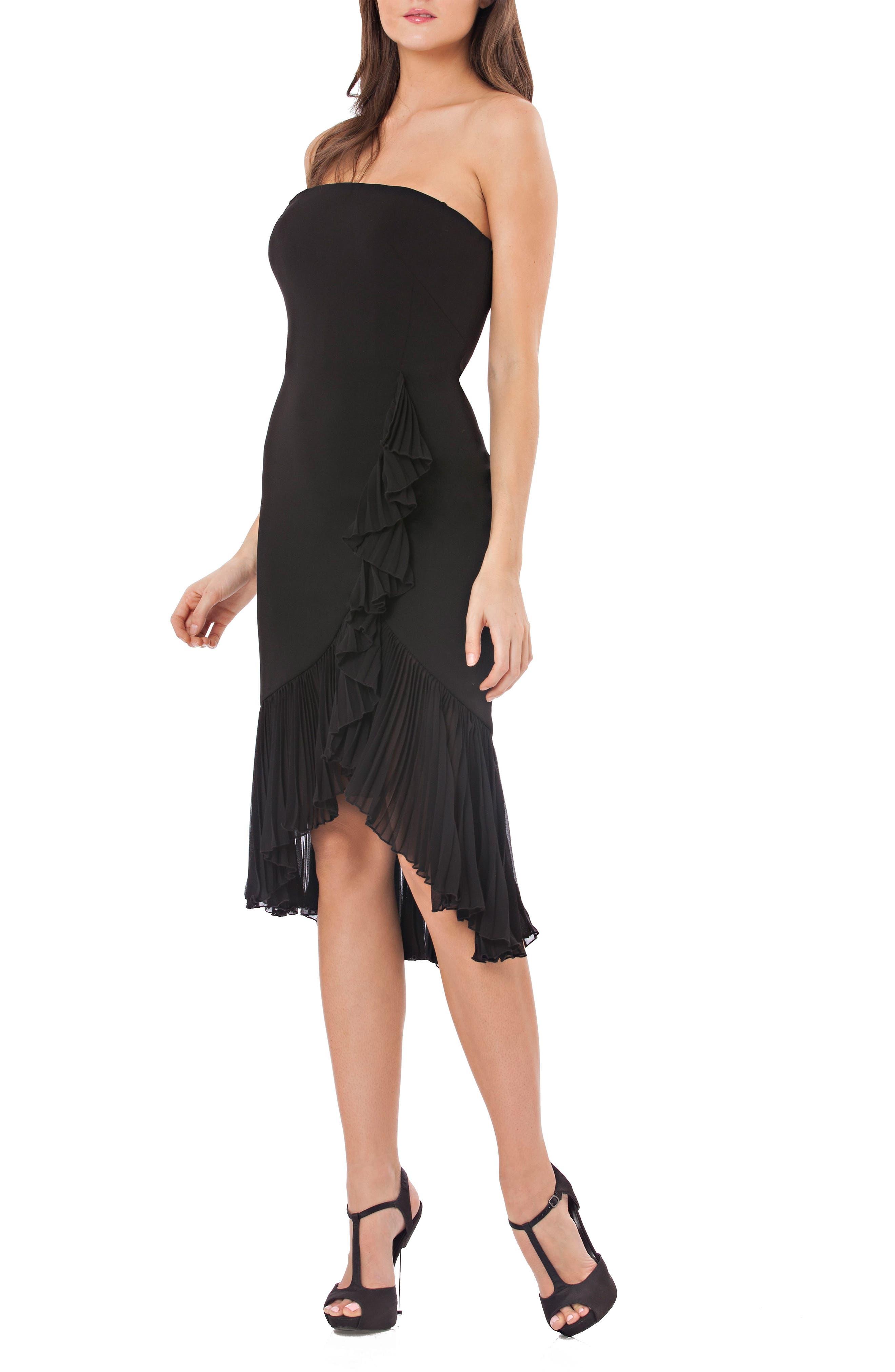 Strapless Ruffle Trim Dress,                         Main,                         color, BLACK