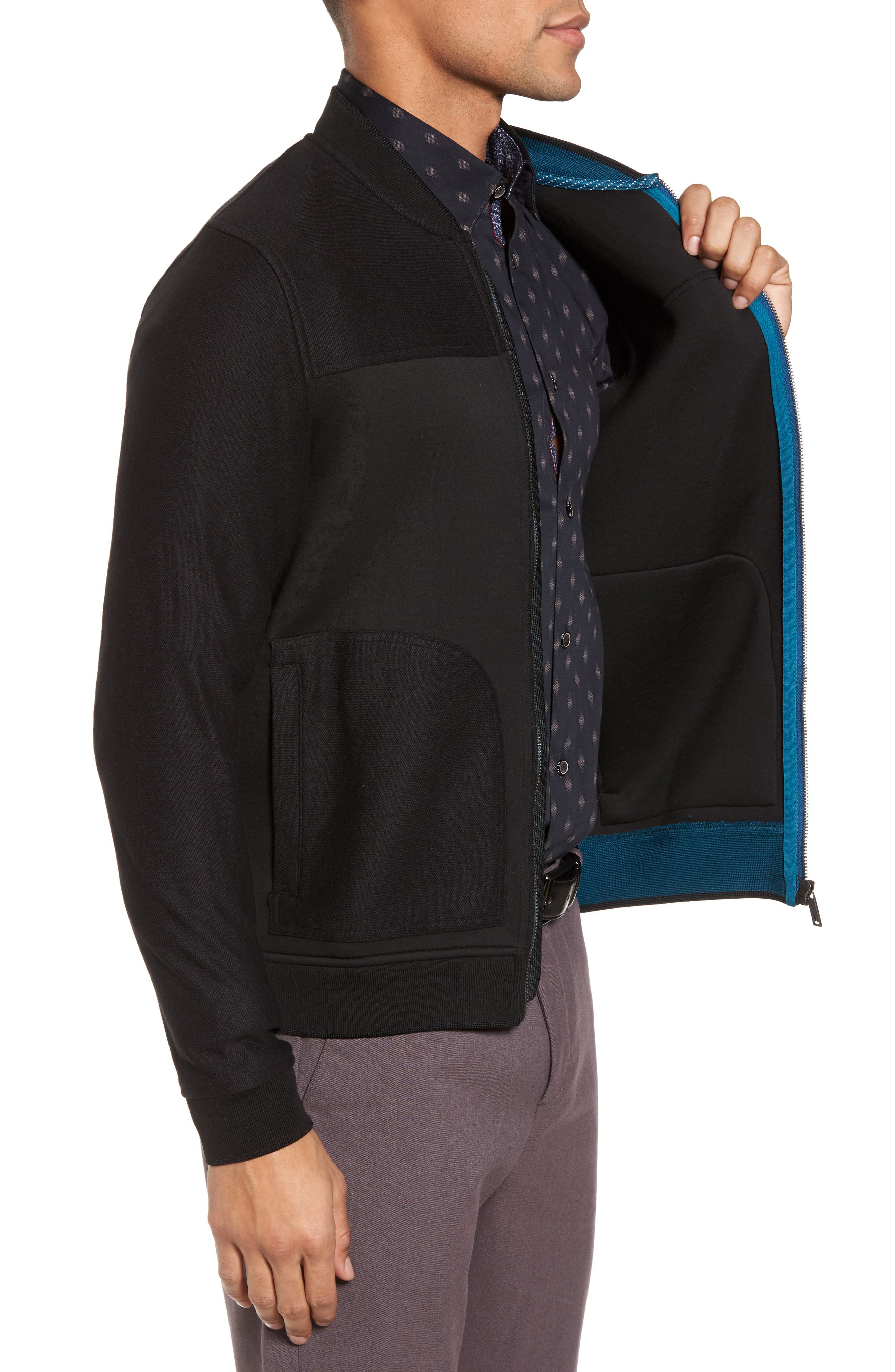 Outme Trim Textured Bomber,                             Alternate thumbnail 3, color,                             001