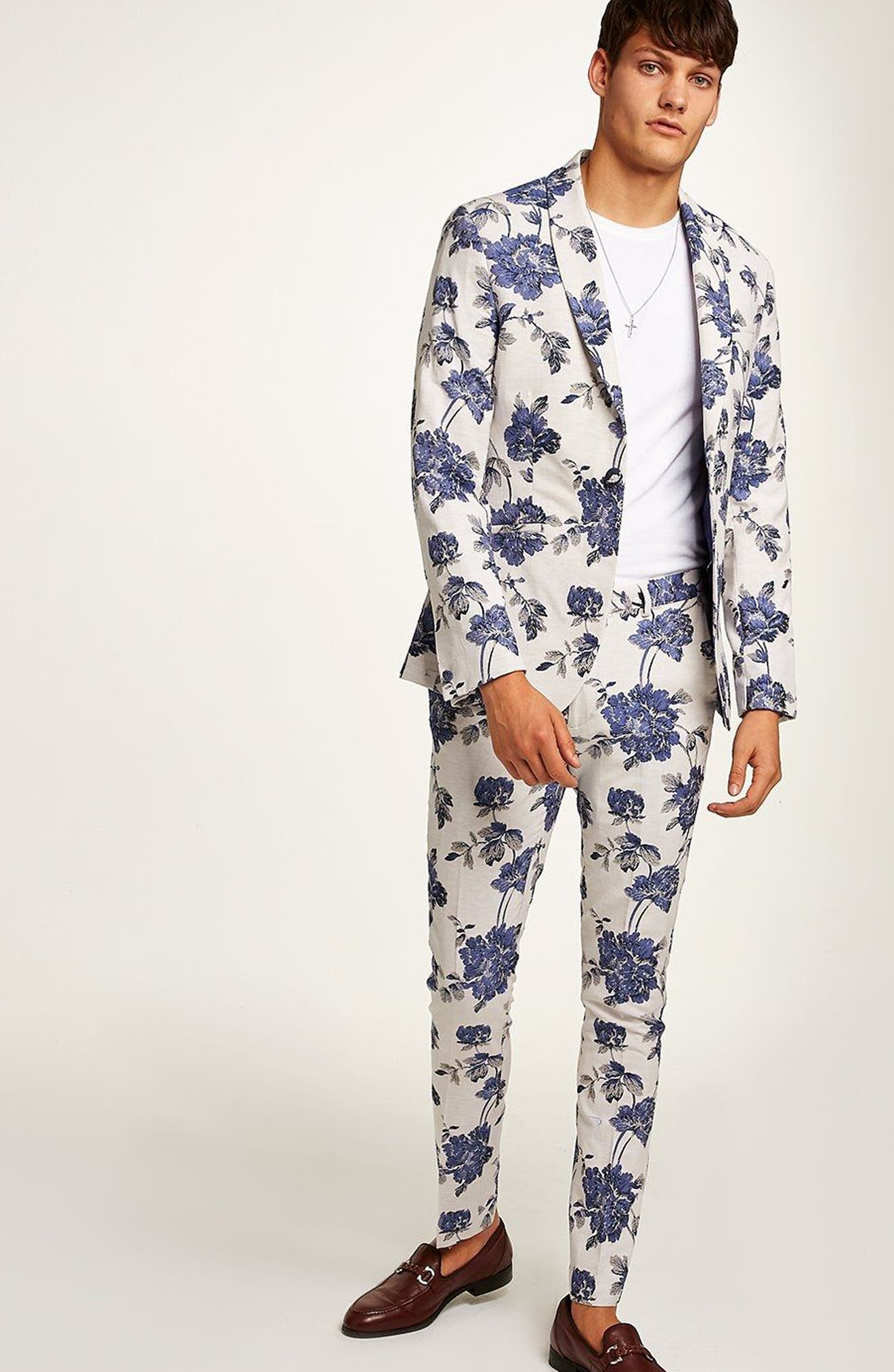 Skinny Fit Floral Suit Jacket,                             Alternate thumbnail 2, color,                             400