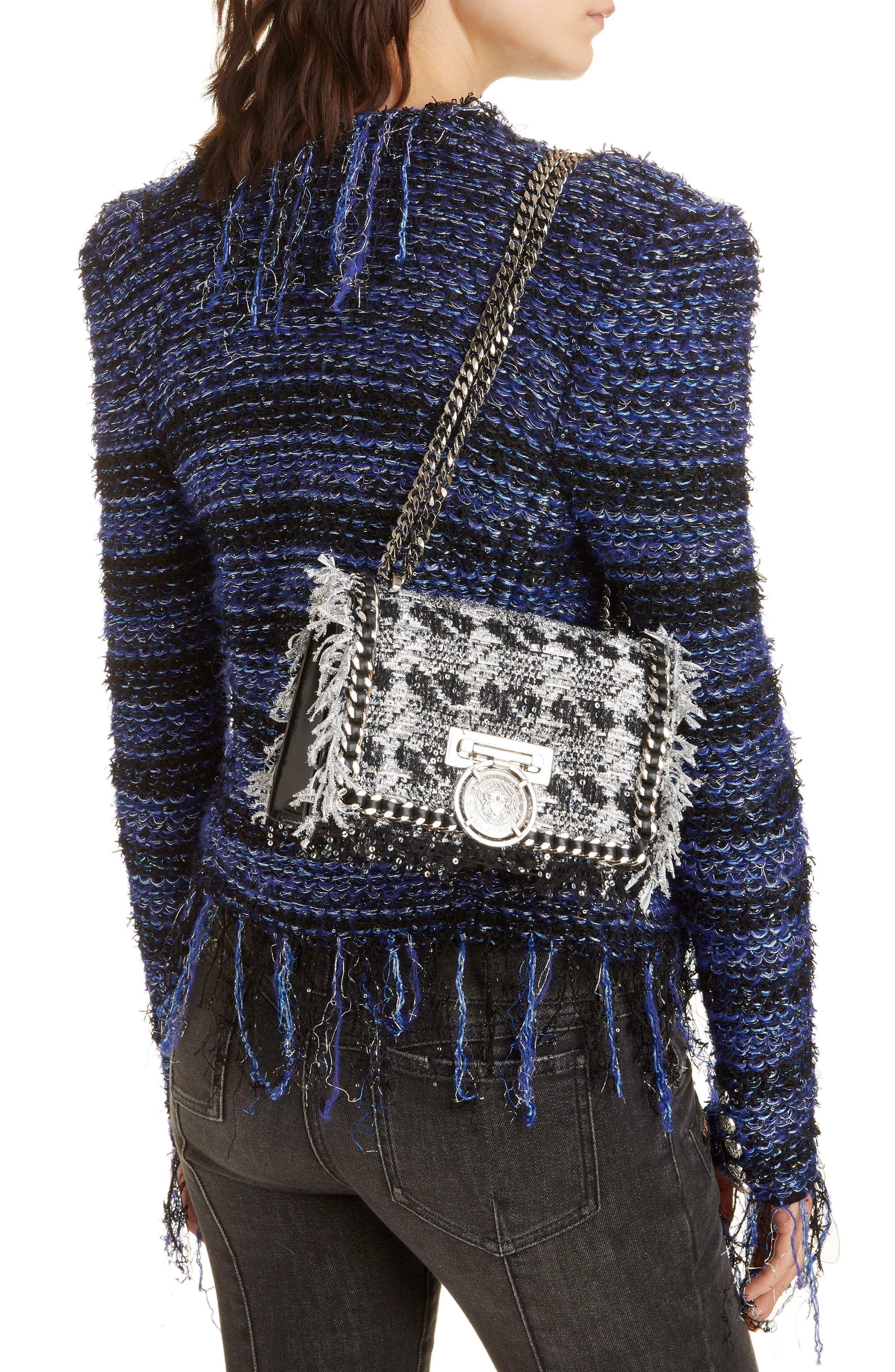 Metallic Tweed & Leather Box Shoulder Bag,                             Alternate thumbnail 2, color,                             NOIR/ ARGENT