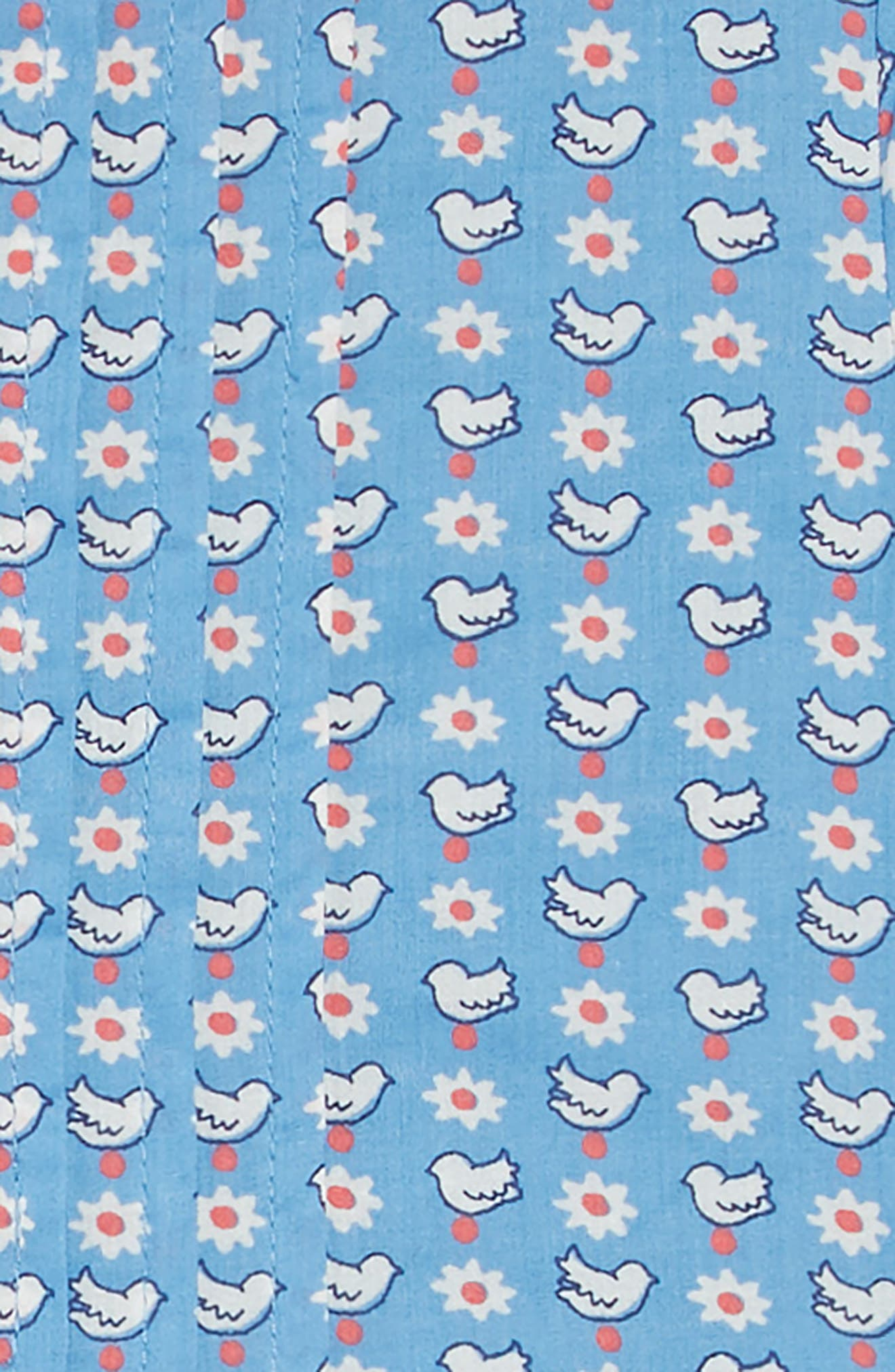 Nostalgic Collared Dress,                             Alternate thumbnail 3, color,                             BLUE GEO BIRDS