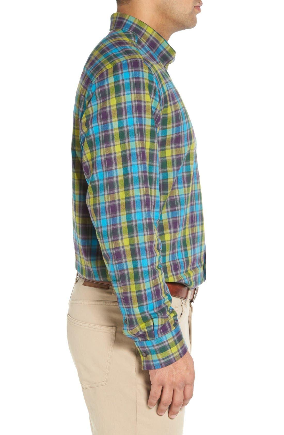 'Timber' Plaid Cotton Twill Sport Shirt,                             Alternate thumbnail 3, color,                             500