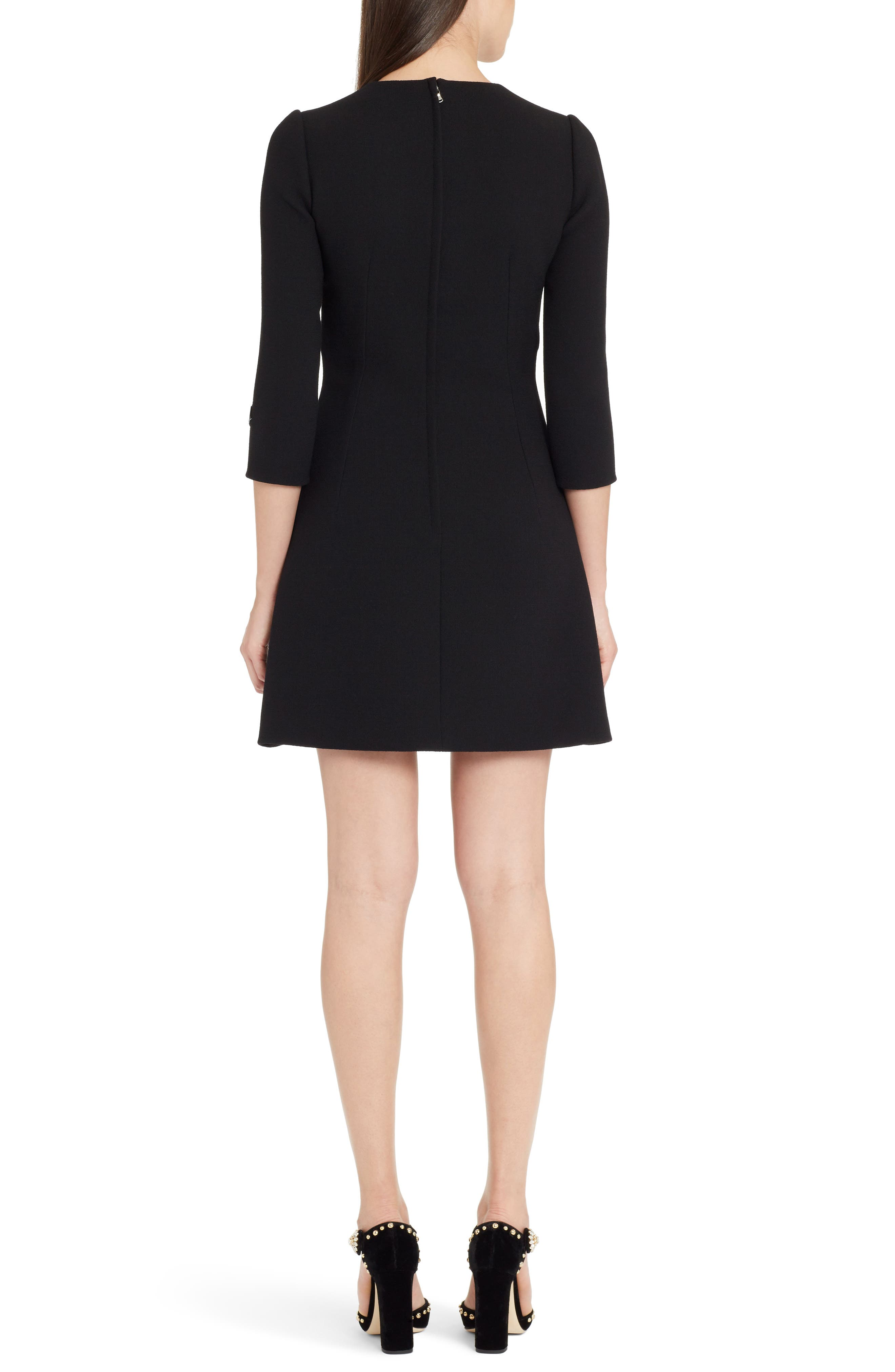 Heart Patch Wool Crepe Dress,                             Alternate thumbnail 2, color,                             BLACK